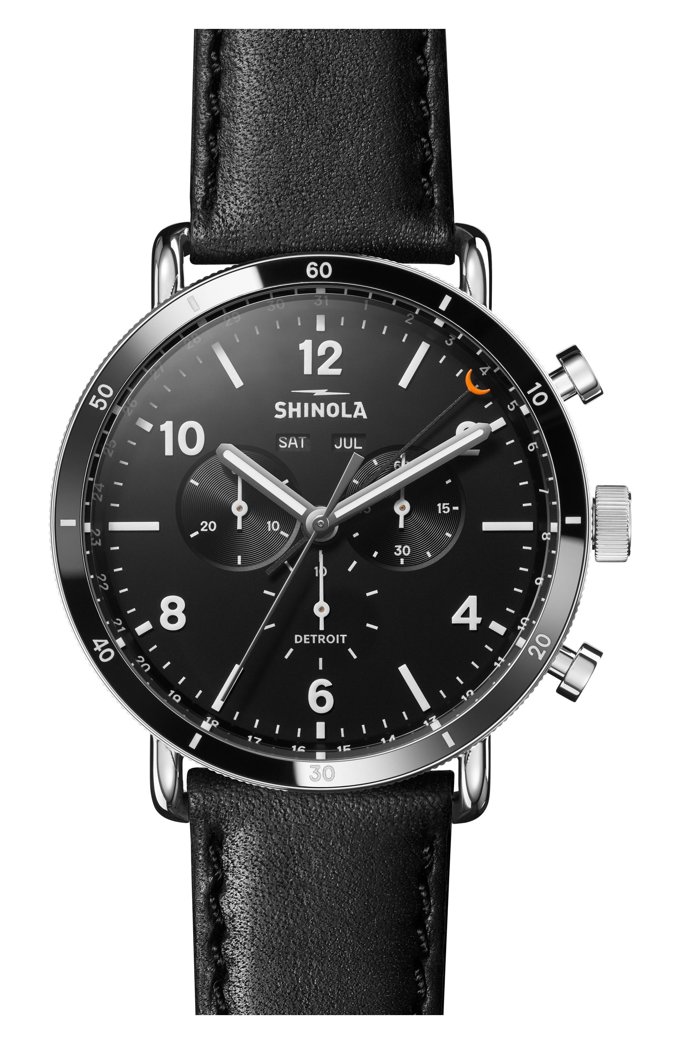 SHINOLA, The Canfield Chrono Leather Strap Watch, 45mm, Main thumbnail 1, color, BLACK/ SILVER