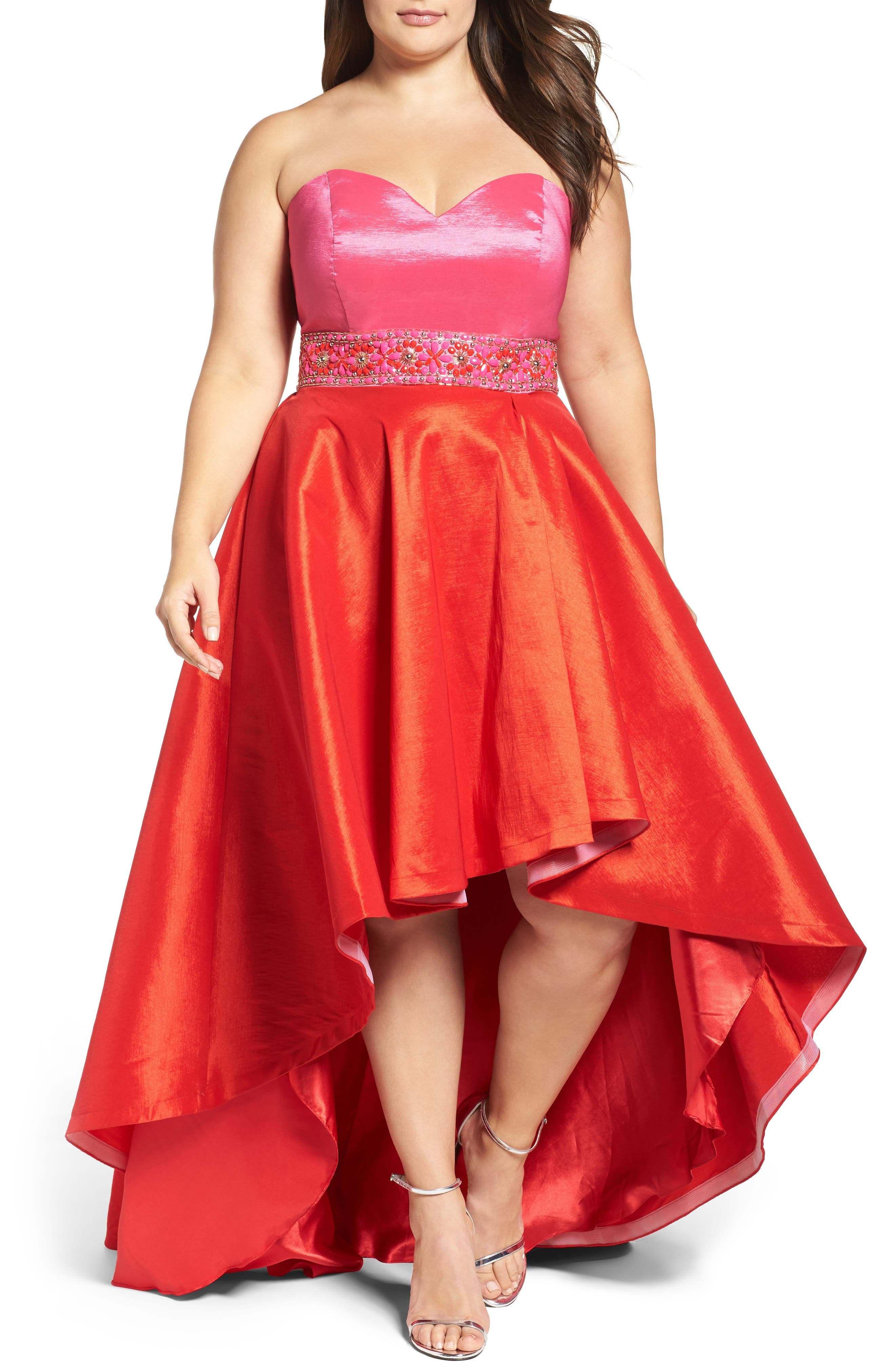 MAC DUGGAL, Strapless Colorblock High/Low Gown, Main thumbnail 1, color, 670