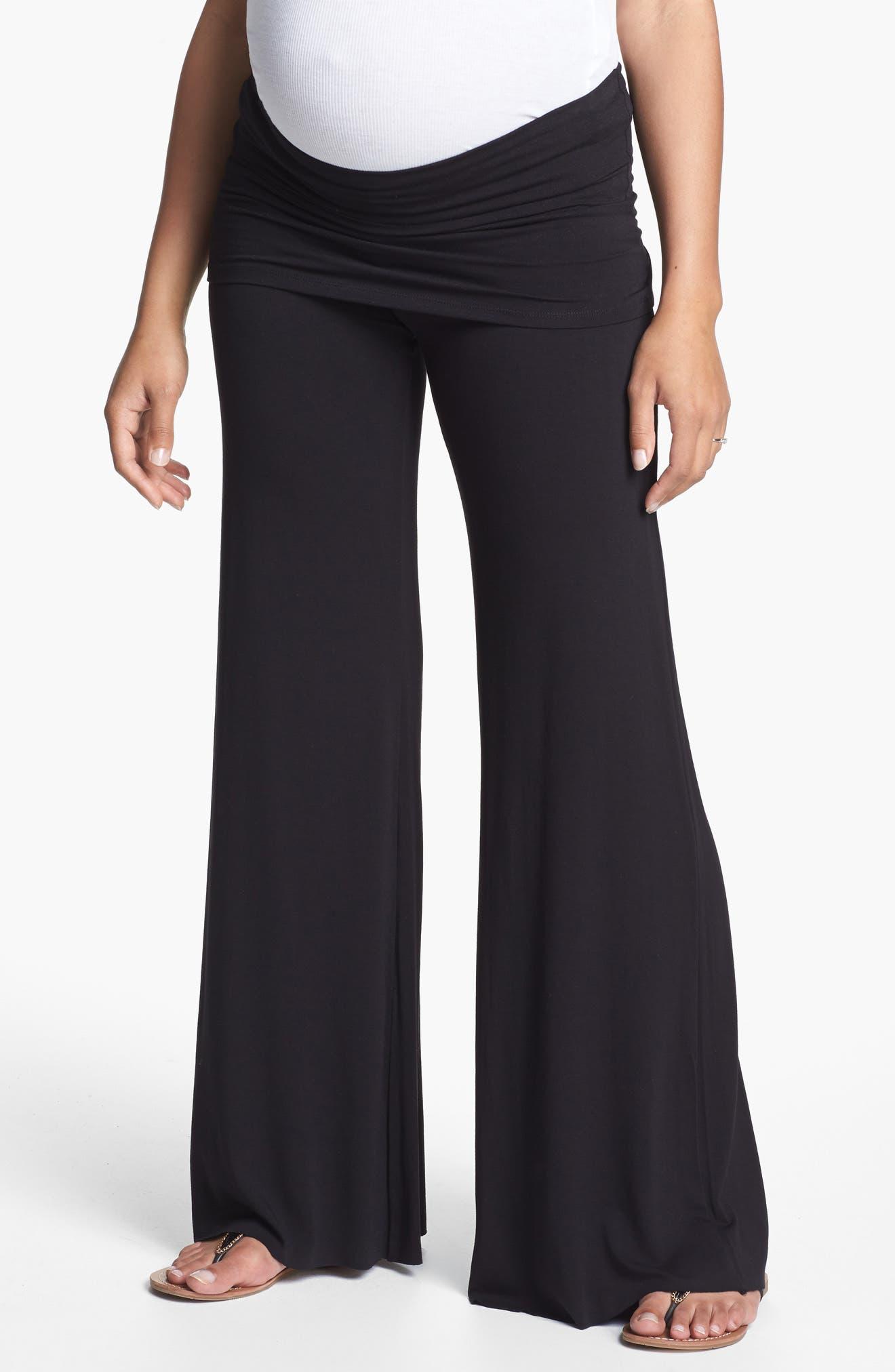 MATERNAL AMERICA, Knit Flare Leg Maternity Pants, Main thumbnail 1, color, BLACK