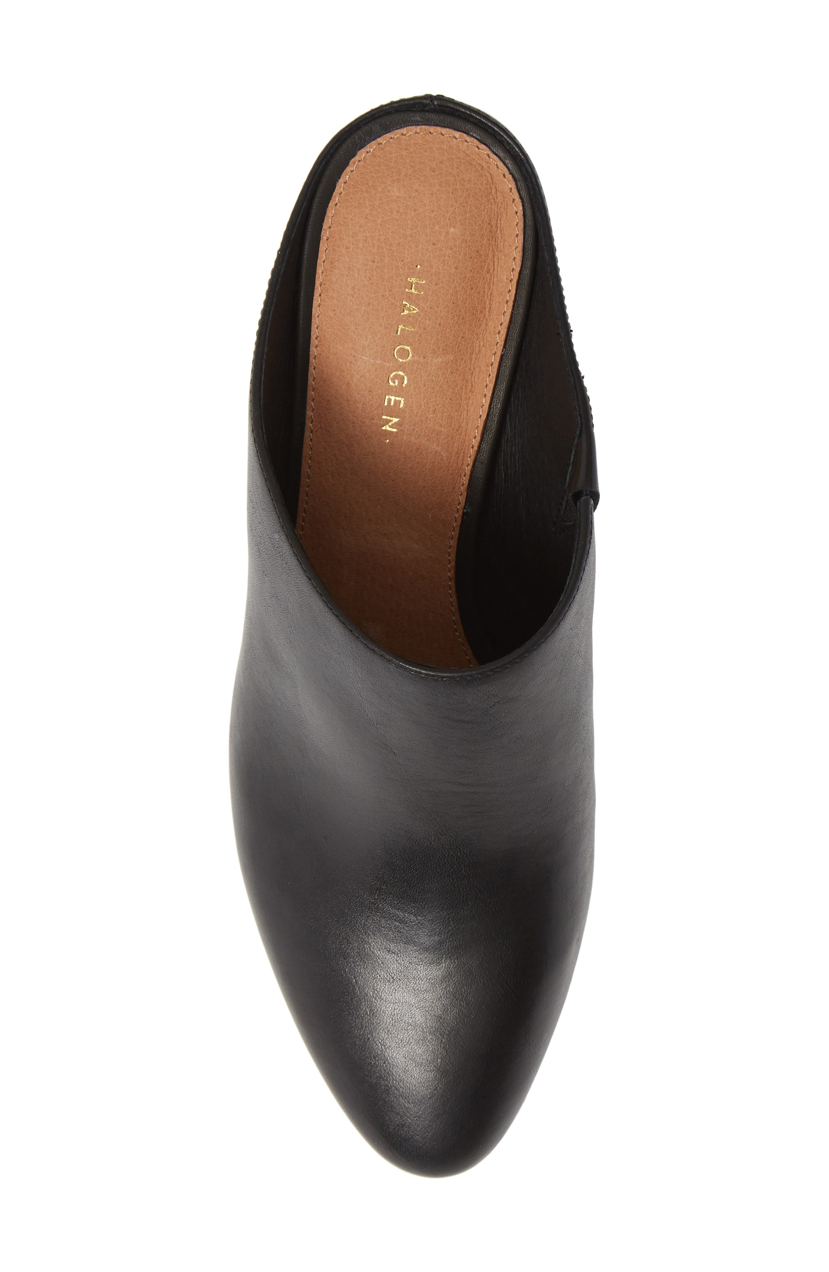 HALOGEN<SUP>®</SUP>, Brielle Mule, Alternate thumbnail 5, color, BLACK LEATHER