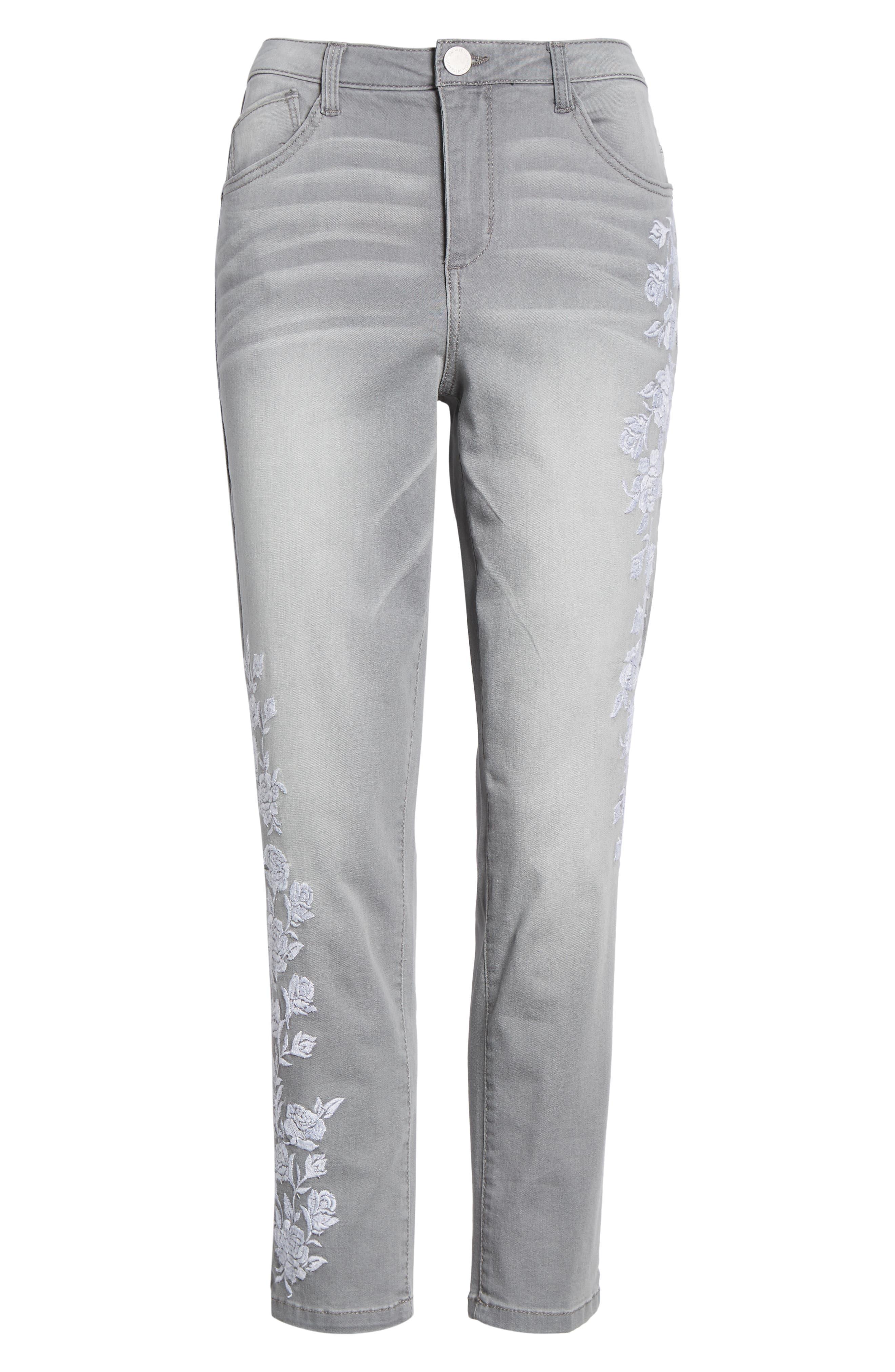 WIT & WISDOM, High Waist Slim Crop Straight Leg Jeans, Alternate thumbnail 7, color, GREY