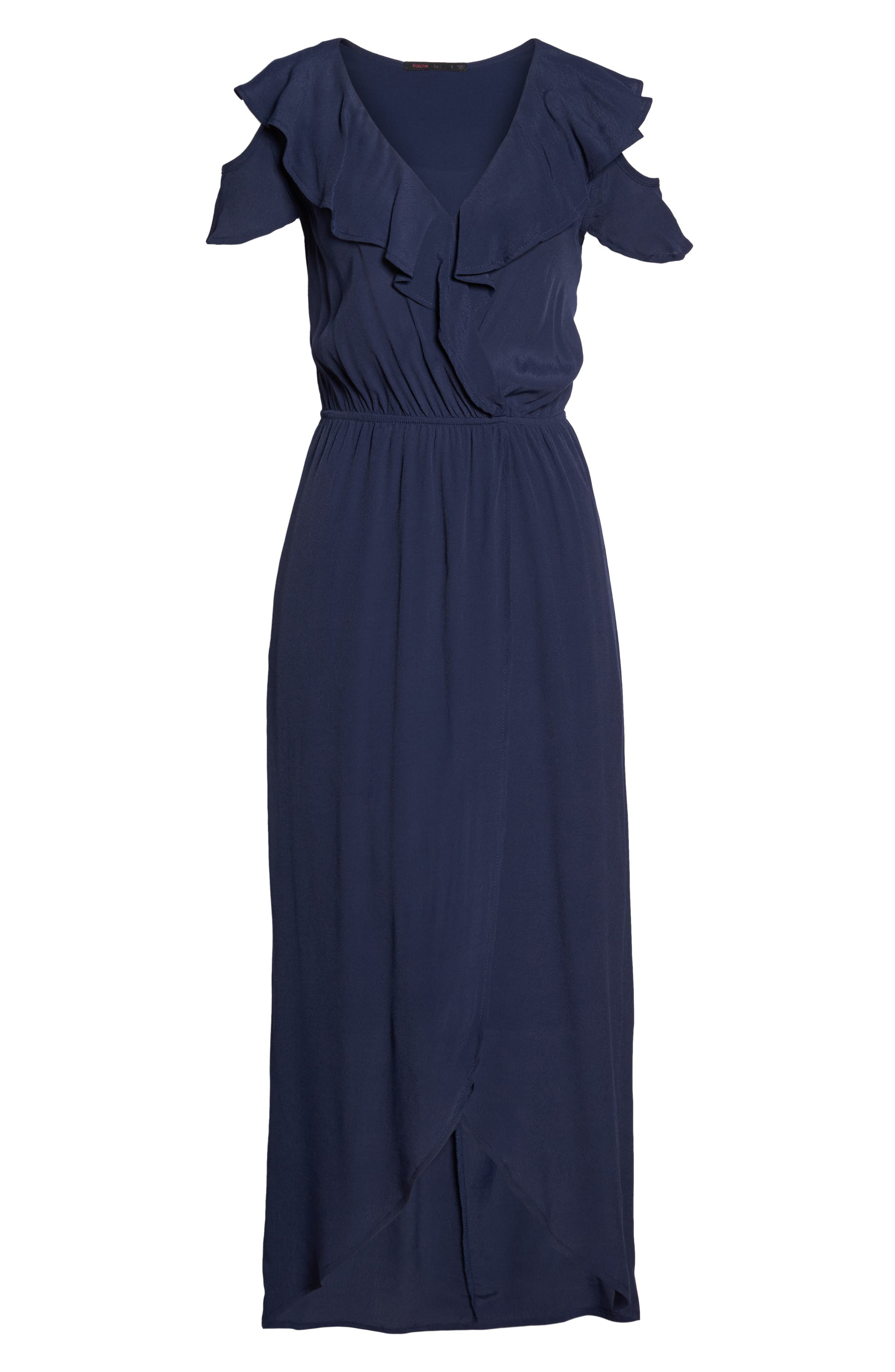 FRAICHE BY J, Cold Shoulder Maxi Dress, Alternate thumbnail 6, color, NAVY
