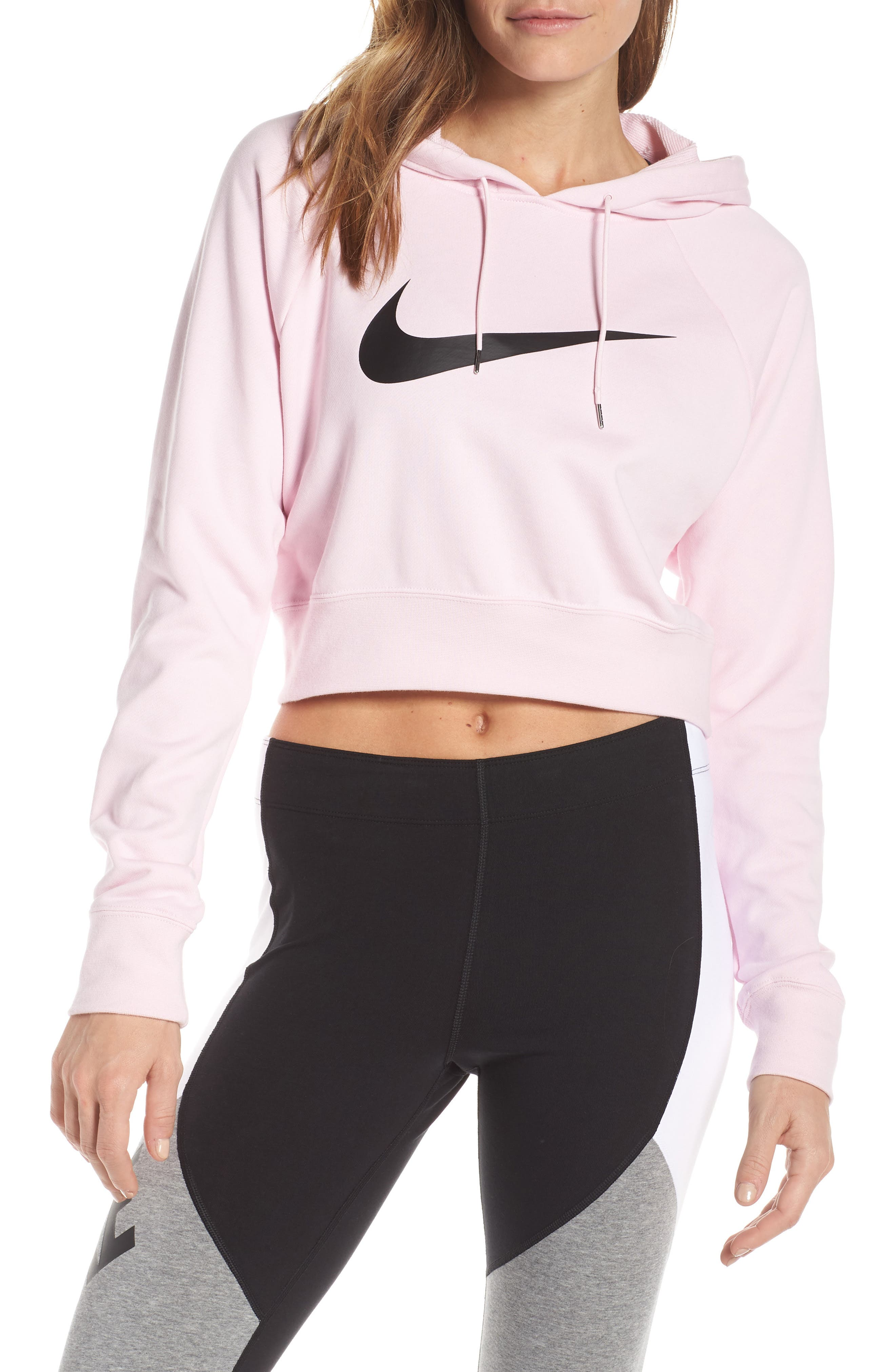 NIKE, Sportswear Women's Cropped Hoodie, Main thumbnail 1, color, PINK FOAM/ BLACK