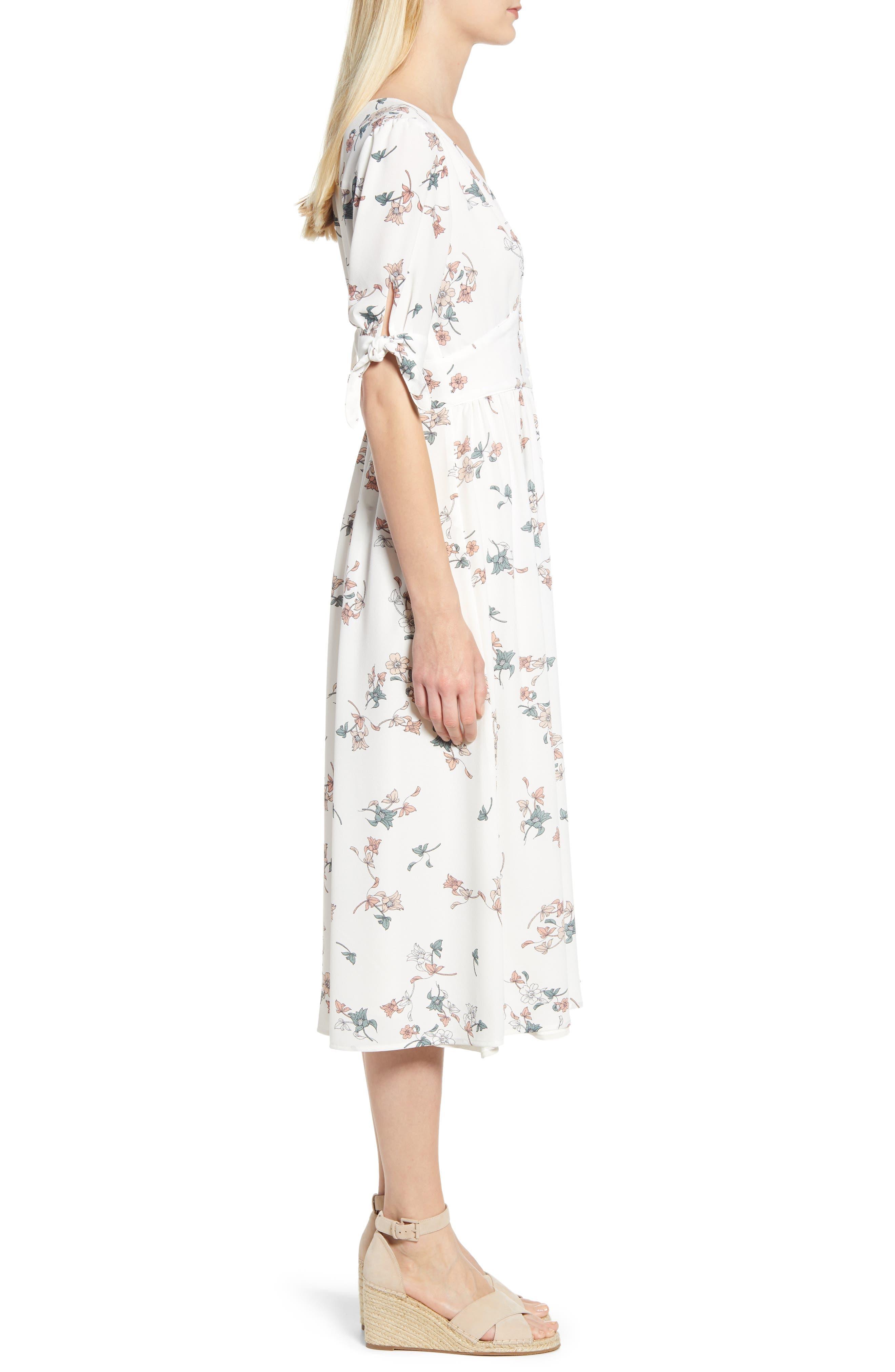 1.STATE, Floral Belle Tie Sleeve Midi Dress, Alternate thumbnail 4, color, 100