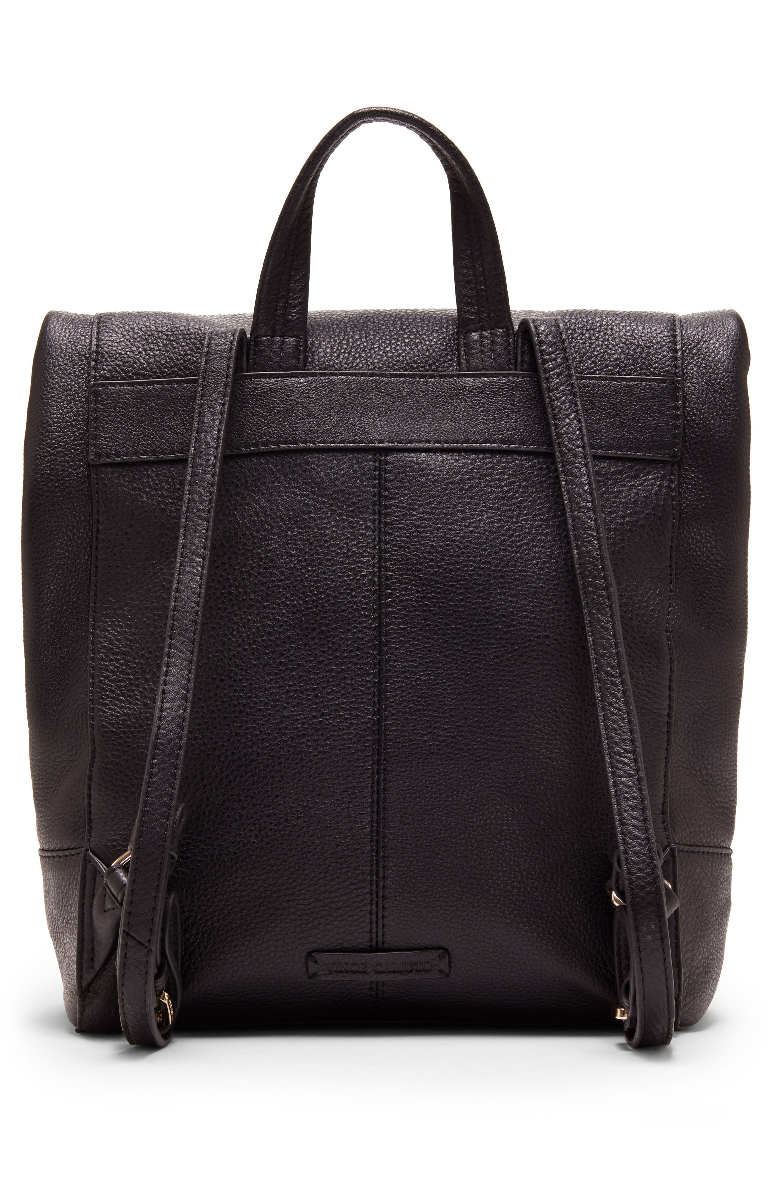 VINCE CAMUTO, Min Pebbled Leather Backpack, Alternate thumbnail 2, color, BLACK