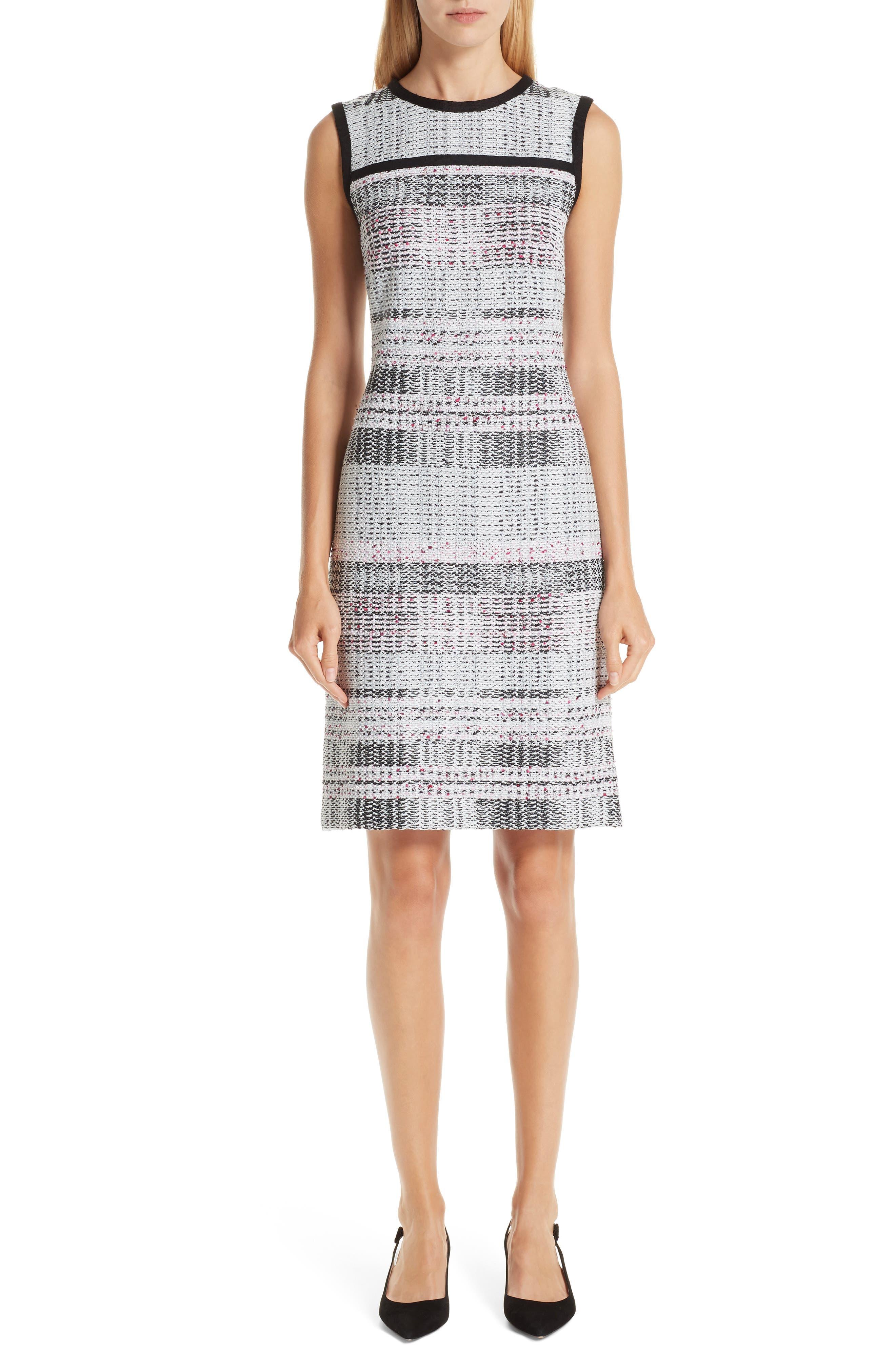 ST. JOHN COLLECTION, Bianca Plaid Knit Sheath Dress, Main thumbnail 1, color, GREY MULTI