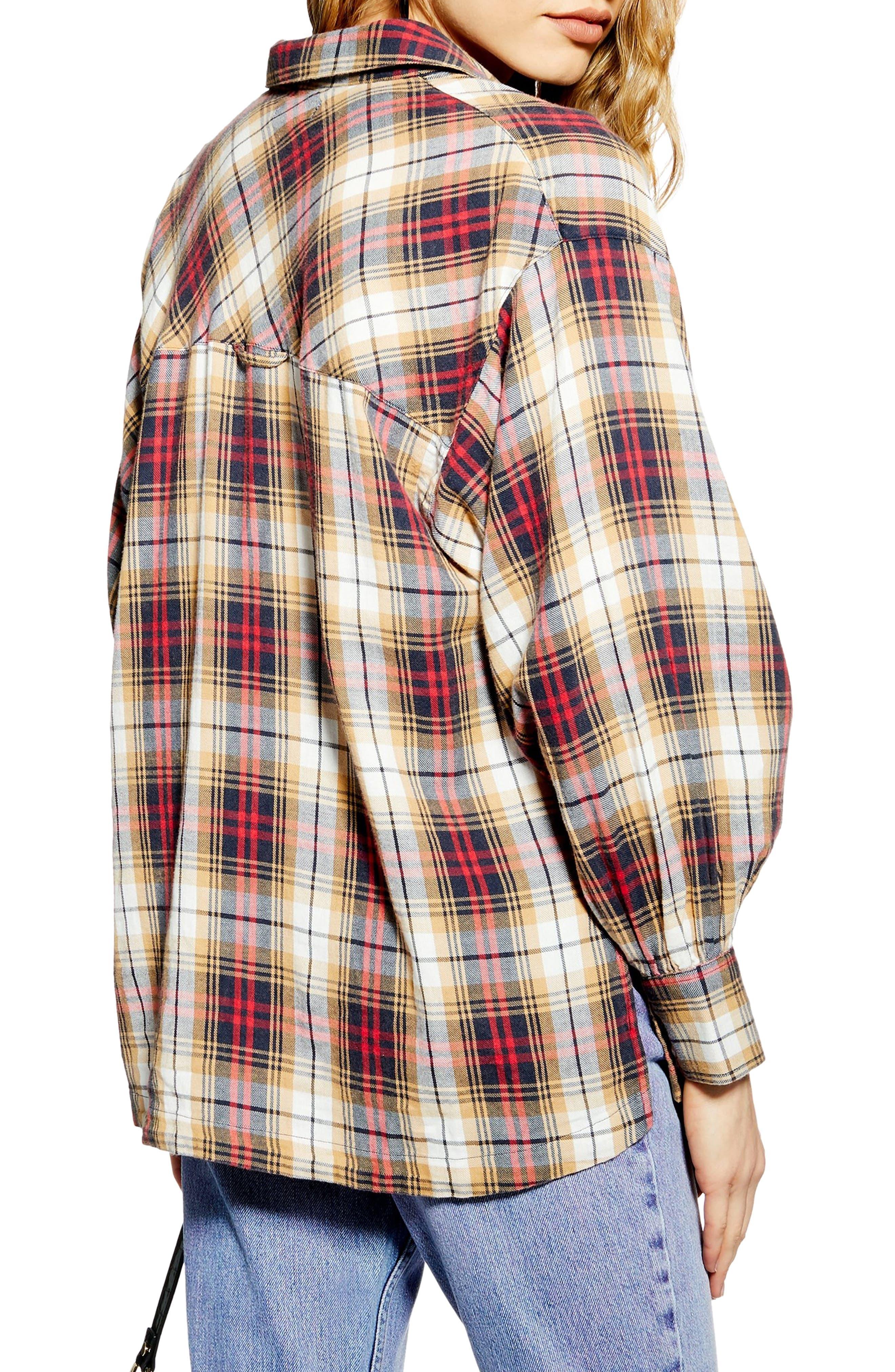 TOPSHOP, Murphy Check Shirt, Alternate thumbnail 2, color, 252