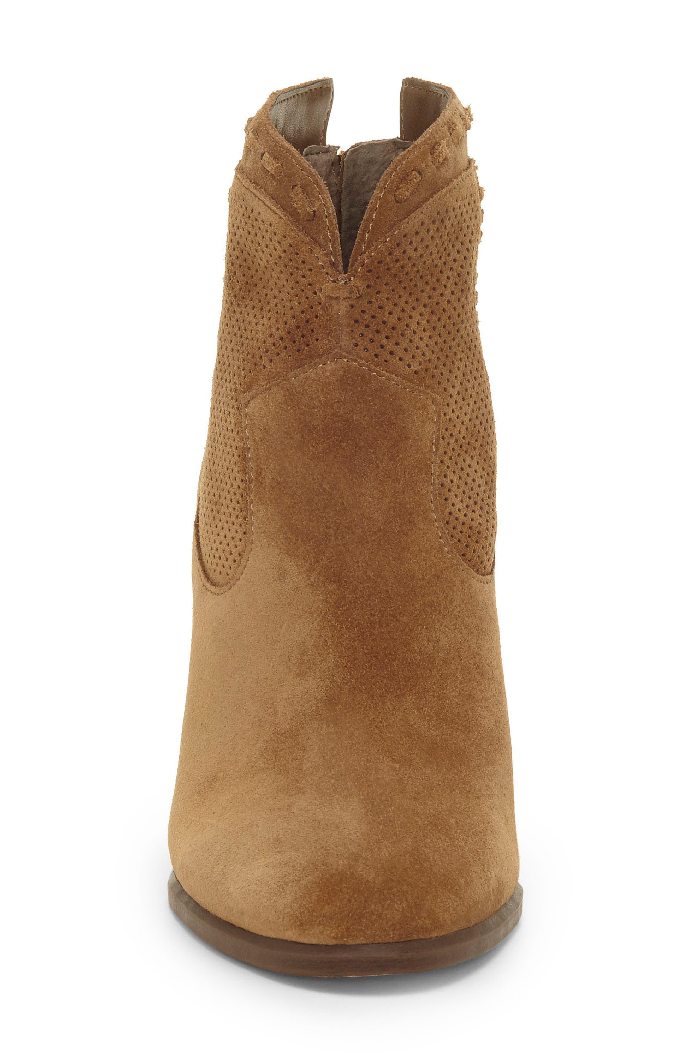 VINCE CAMUTO, Fretzia Perforated Boot, Alternate thumbnail 4, color, TREE HOUSE NUBUCK