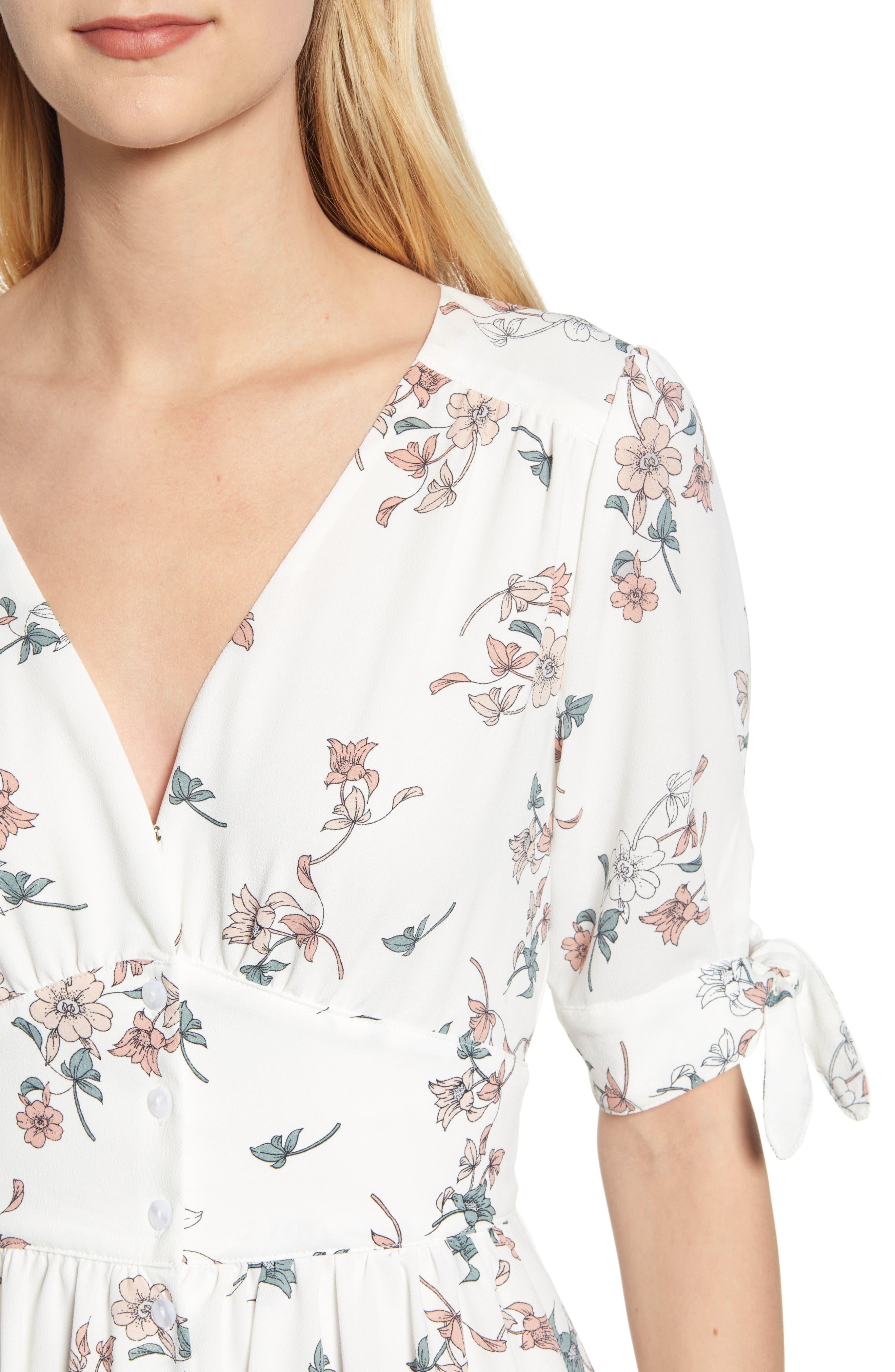 1.STATE, Floral Belle Tie Sleeve Midi Dress, Alternate thumbnail 5, color, 100