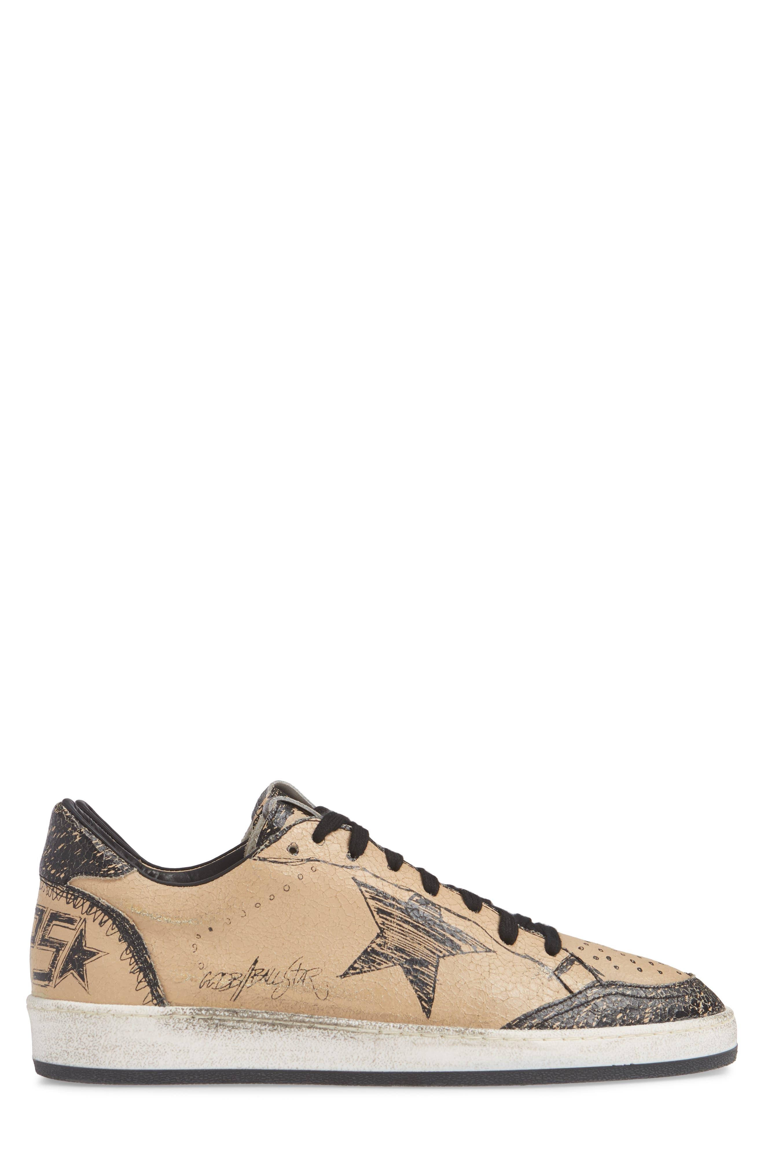 GOLDEN GOOSE, B-Ball Star Sneaker, Alternate thumbnail 3, color, BLACK DRAWING