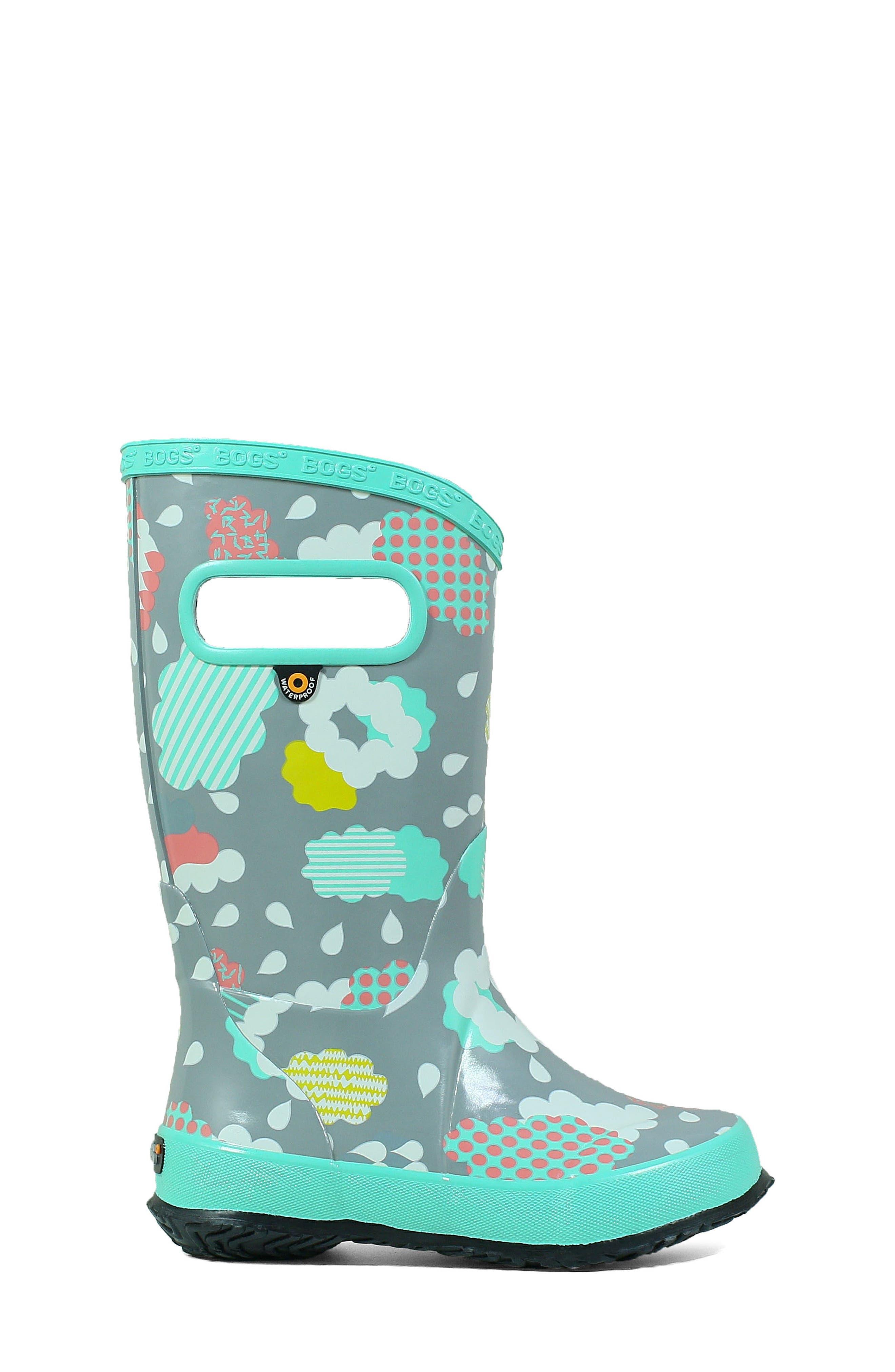 BOGS, Clouds Waterproof Rain Boot, Alternate thumbnail 3, color, 062