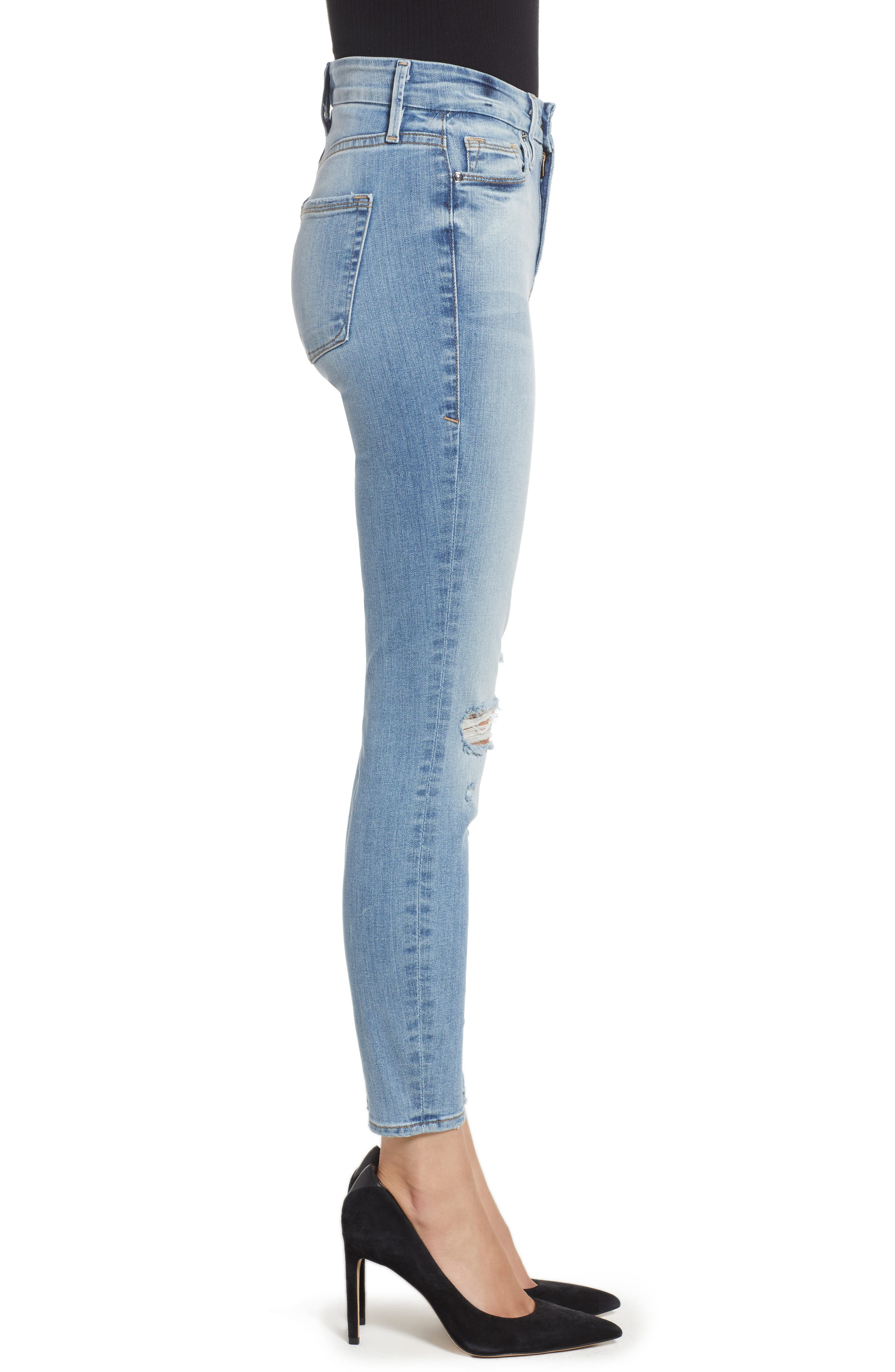GOOD AMERICAN, Good Legs Ripped Crop Skinny Jeans, Alternate thumbnail 5, color, BLUE 199