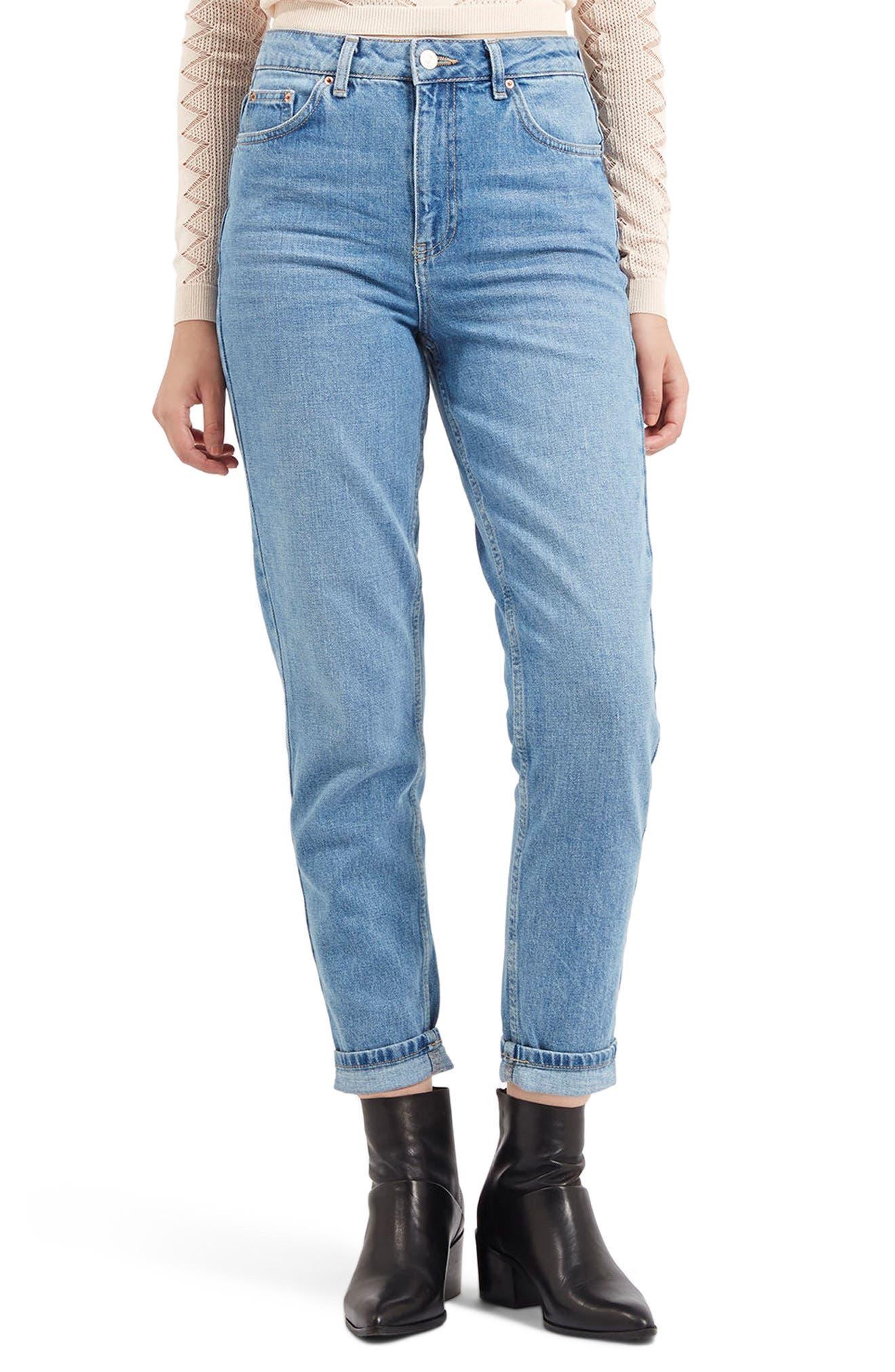 TOPSHOP, Light Denim Mom Jeans, Main thumbnail 1, color, LIGHT DENIM