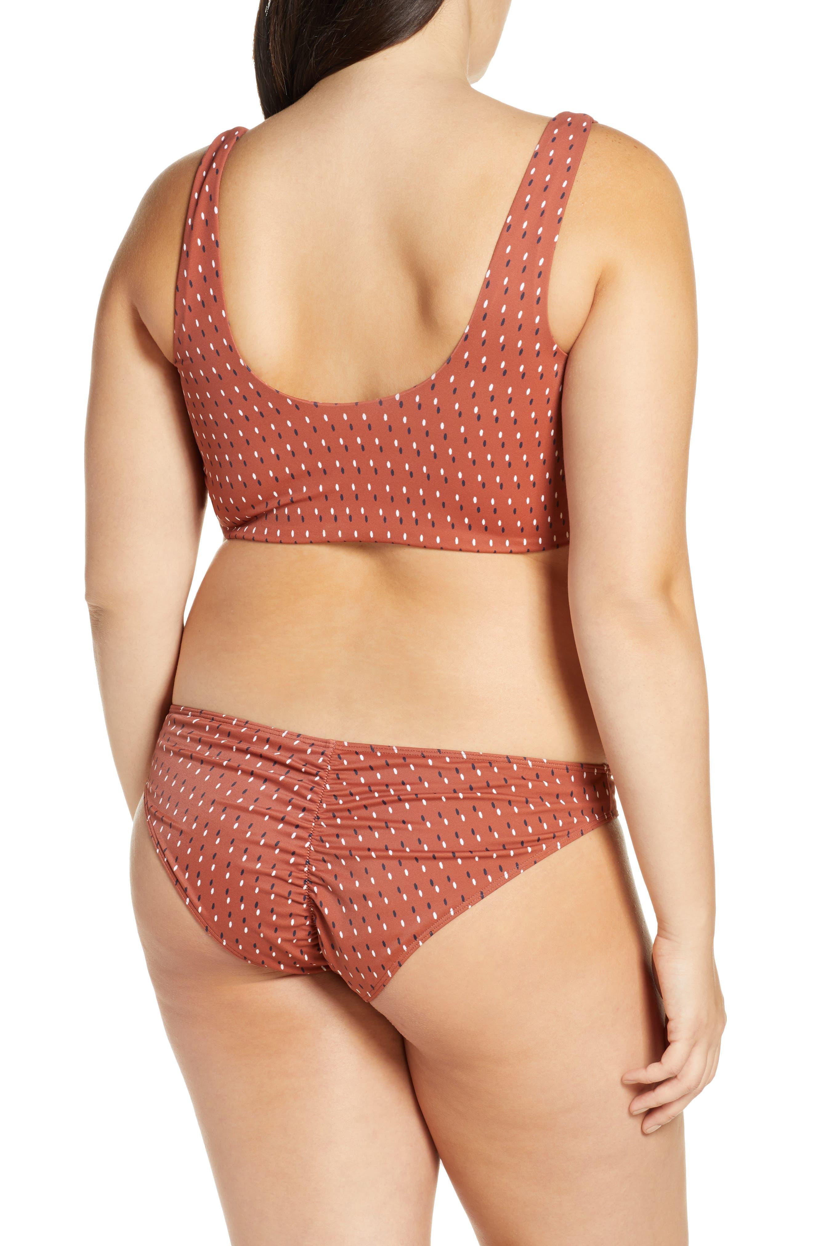 SOMETHING NAVY, Tie Front Bikini Top, Alternate thumbnail 15, color, RUST HENNA DOT FADE