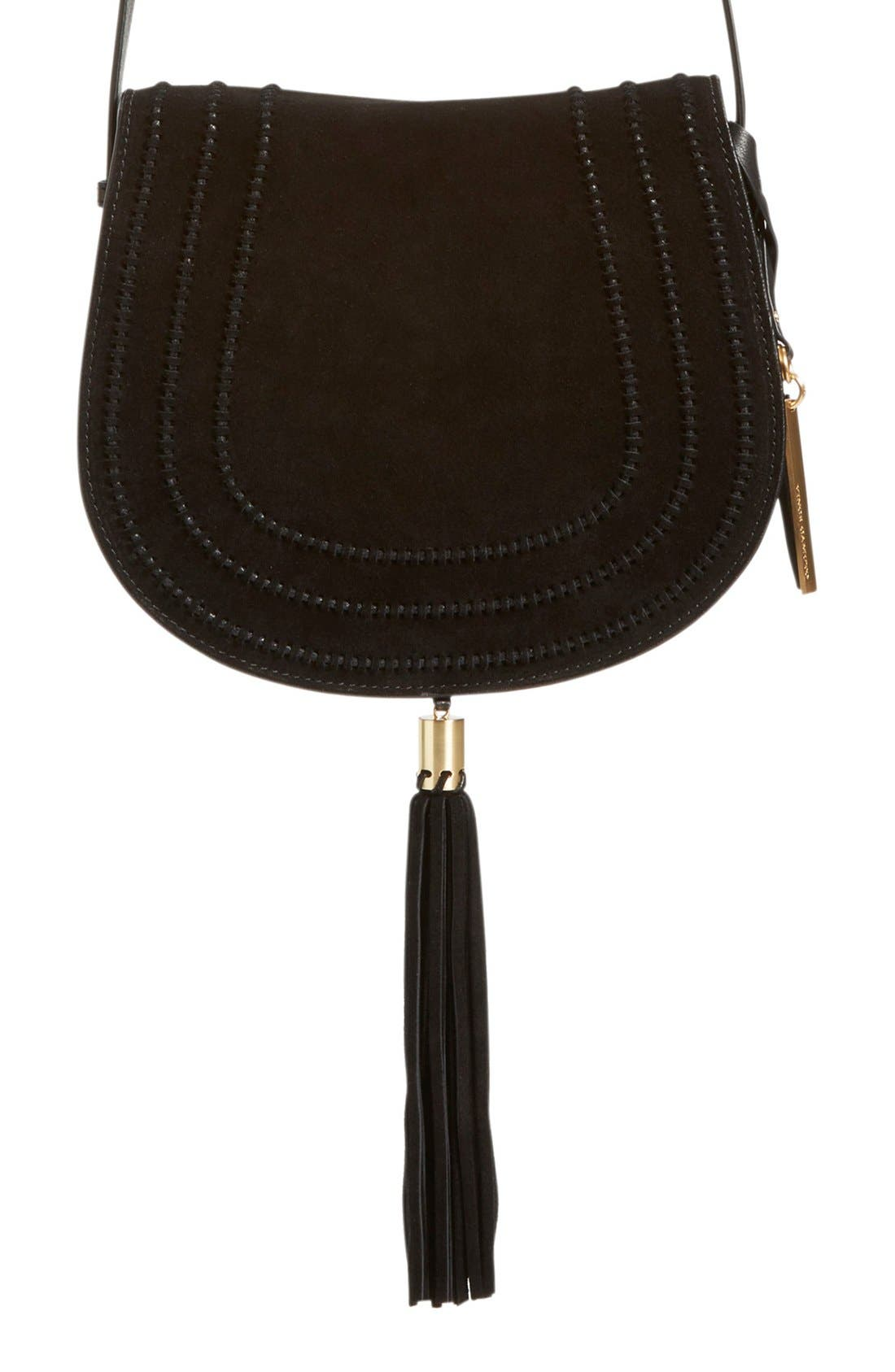 VINCE CAMUTO, 'Izzi' Tassel Leather & Suede Crossbody Bag, Main thumbnail 1, color, 001