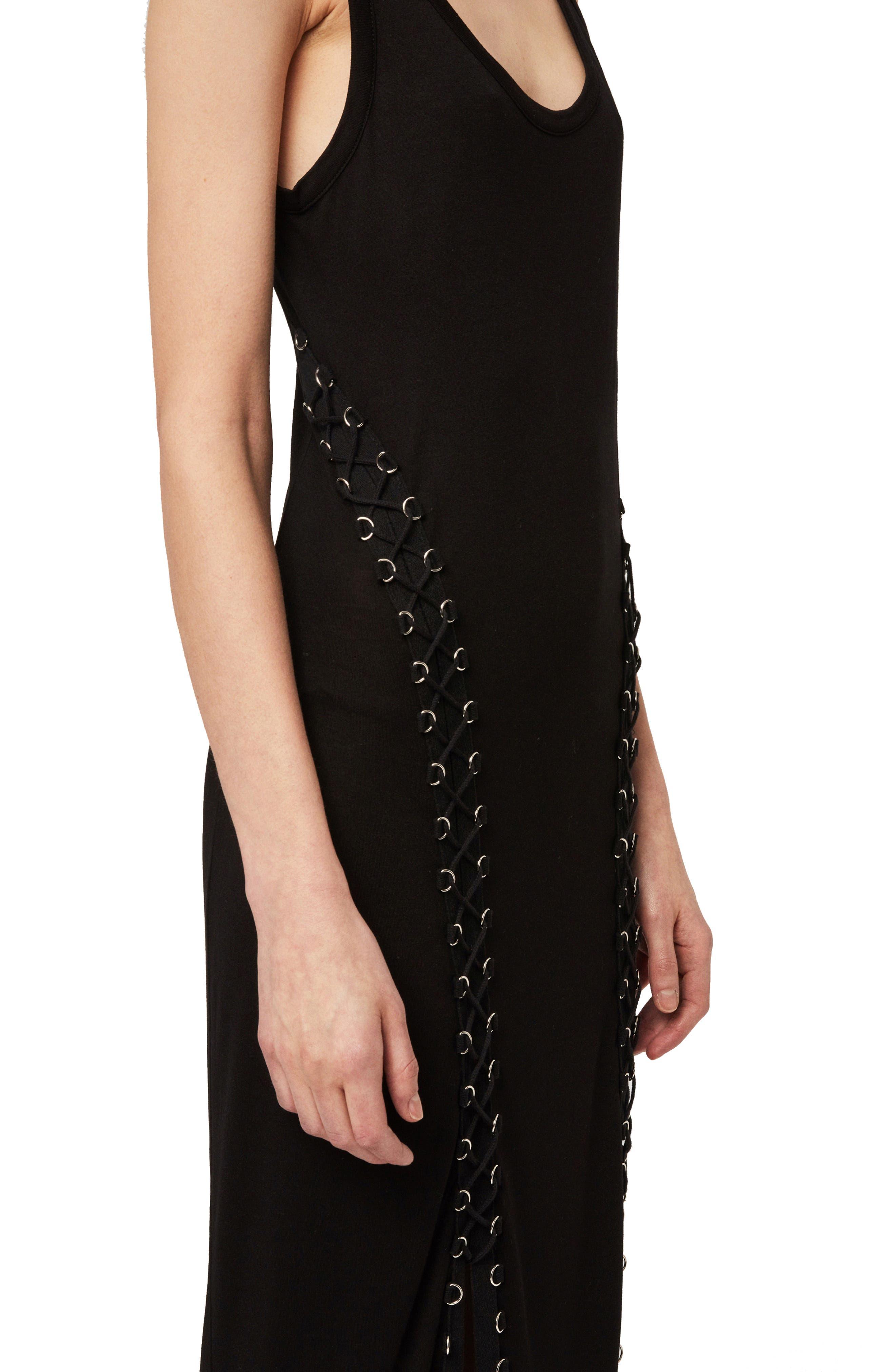 ALLSAINTS, Daner Lace-Up Side Maxi Dress, Alternate thumbnail 4, color, BLACK