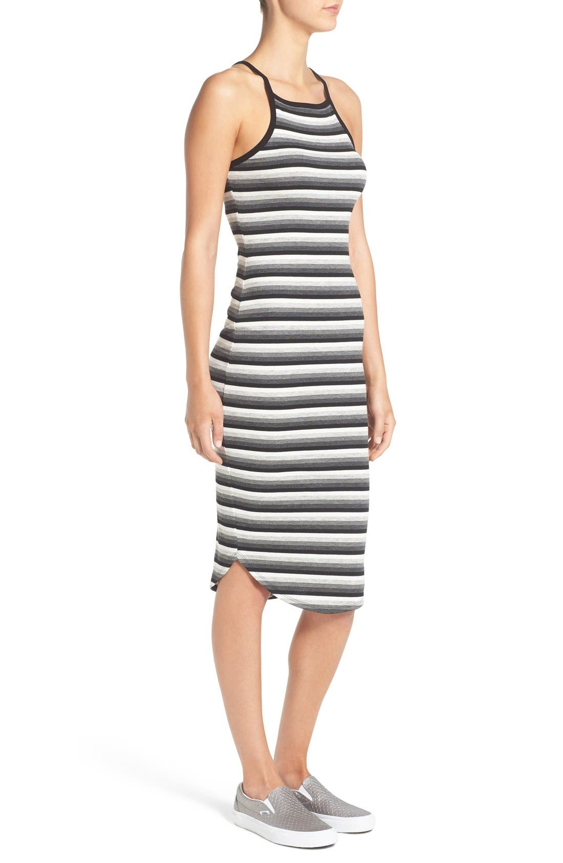 SOPRANO, Stripe Rib Knit Midi Dress, Alternate thumbnail 5, color, 001