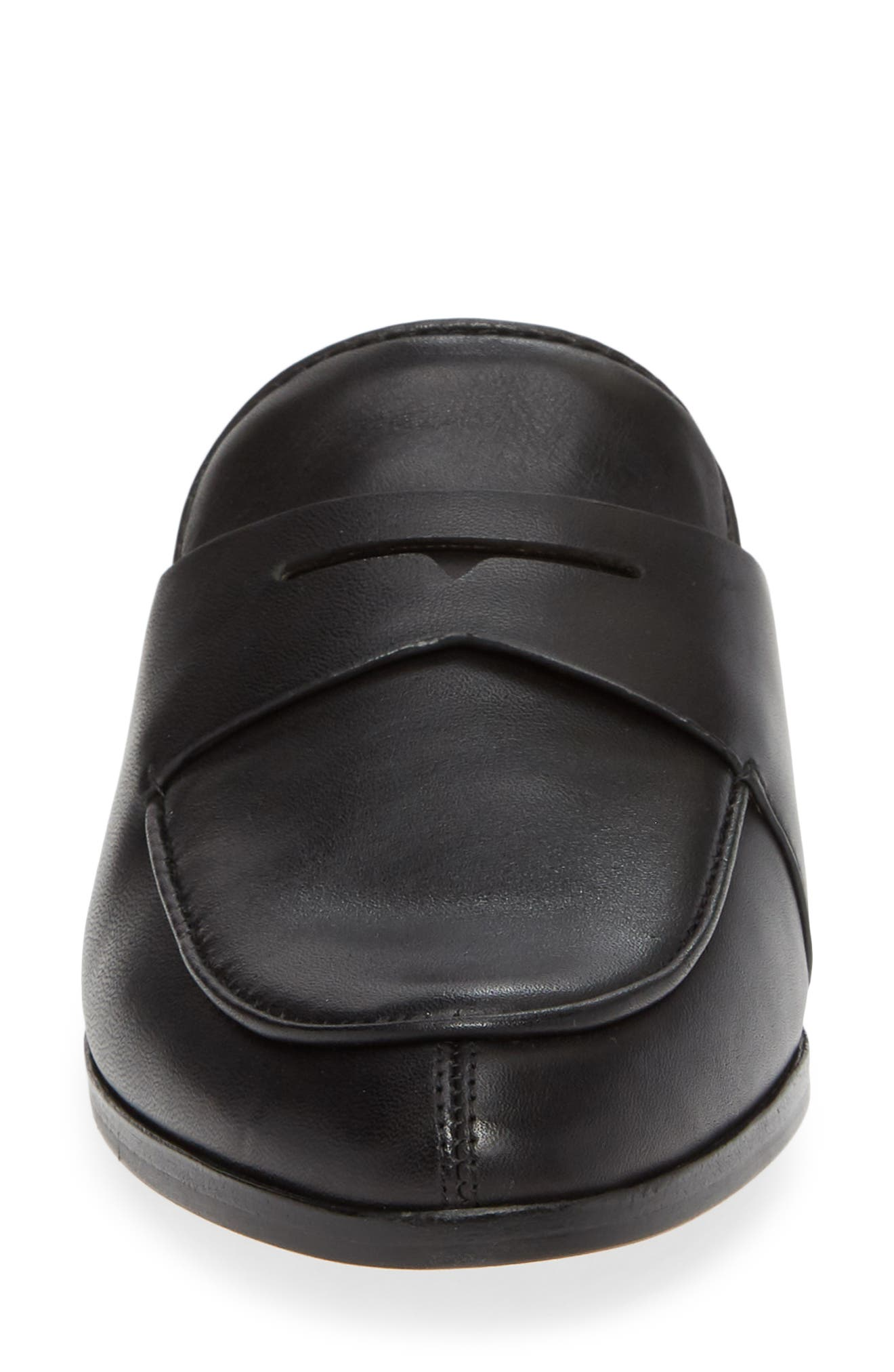 LOUISE ET CIE, Dugan Flat Loafer Mule, Alternate thumbnail 4, color, BLACK/BLACK LEATHER
