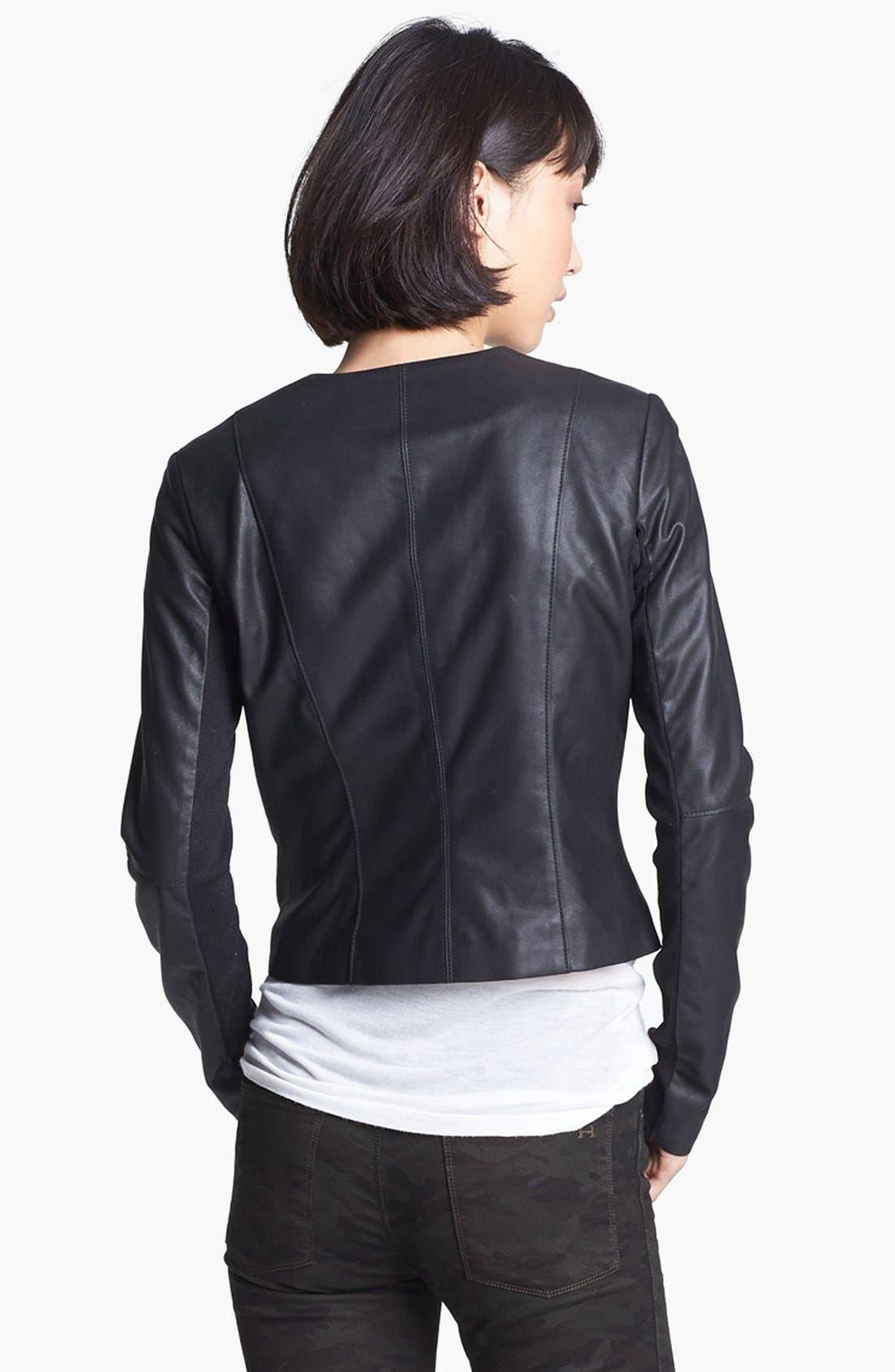 VEDA, 'Dali' Leather Jacket, Alternate thumbnail 5, color, 001