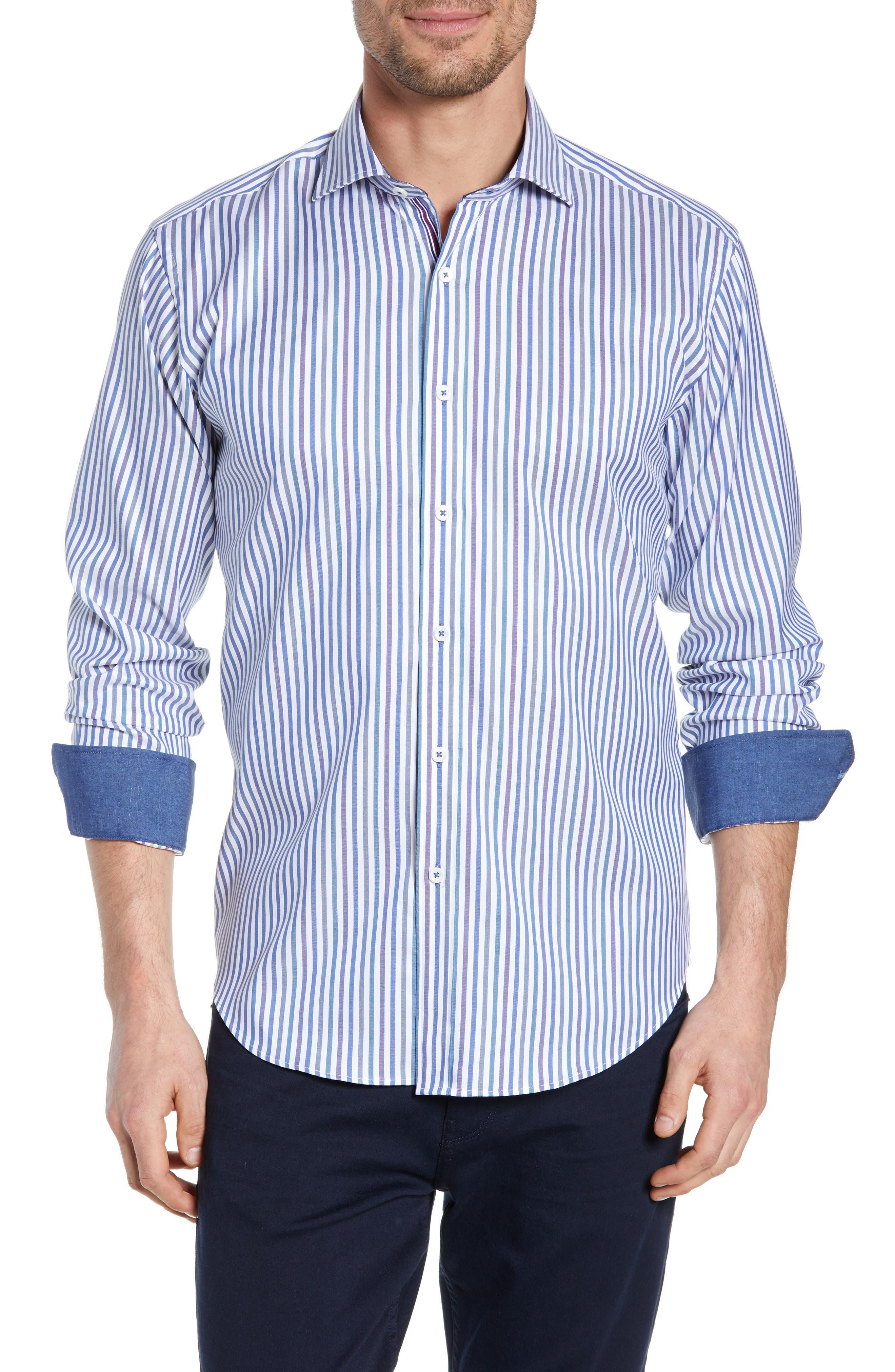 BUGATCHI, Classic Fit Stripe Sport Shirt, Main thumbnail 1, color, CHALK
