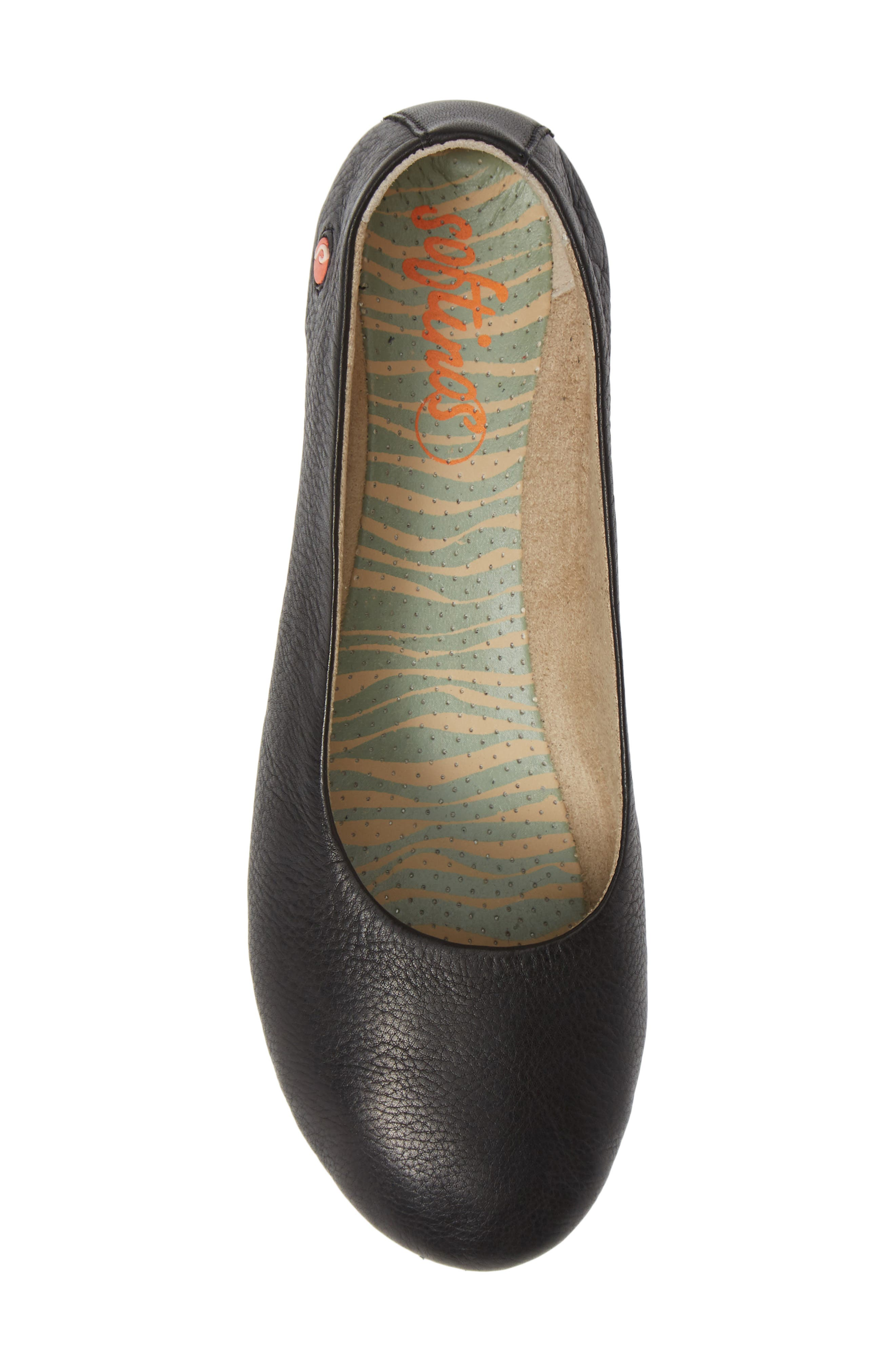 SOFTINOS BY FLY LONDON, Asa Soft Flat, Alternate thumbnail 5, color, BLACK SMOOTH LEATHER