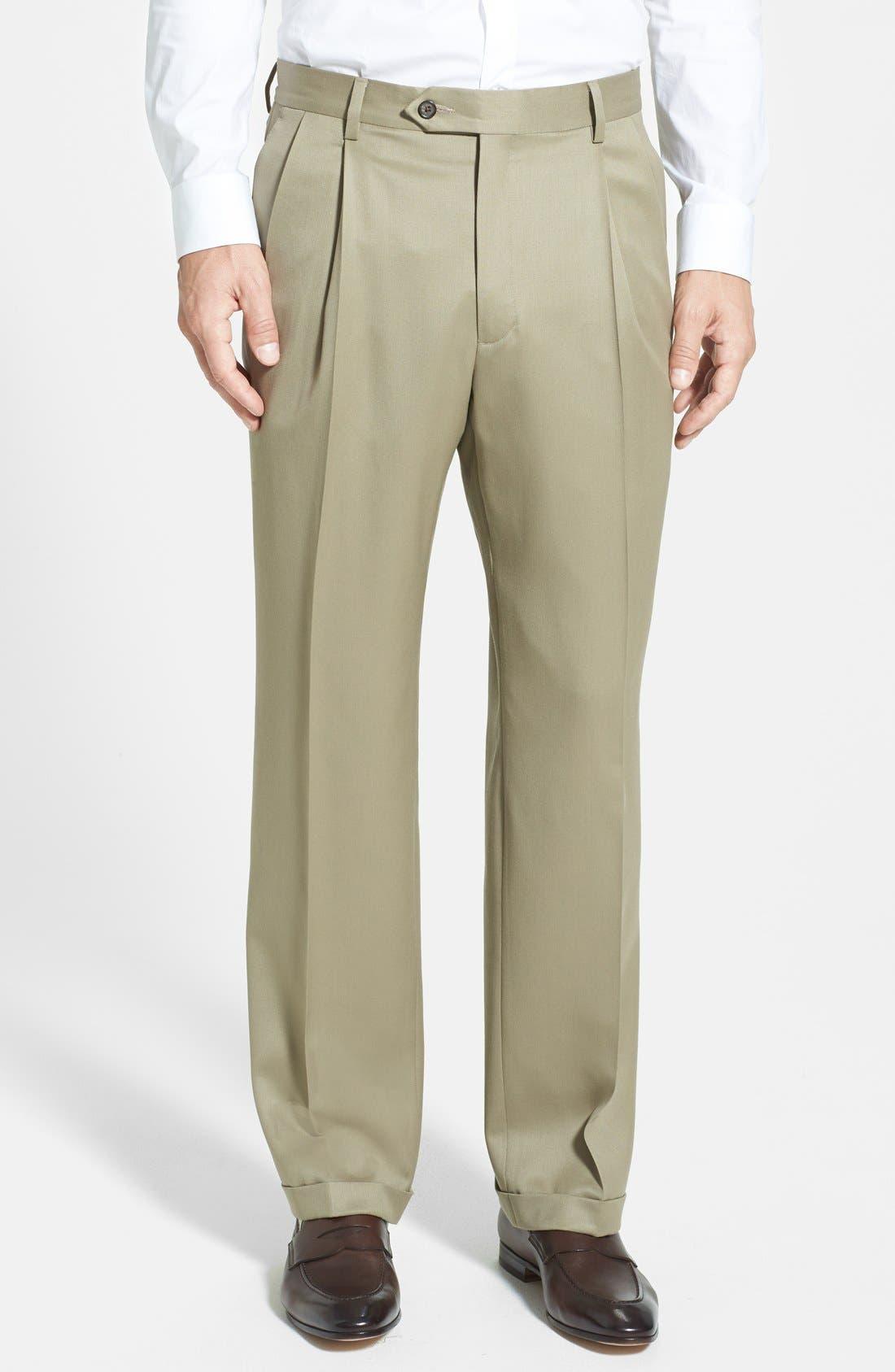 BERLE Pleated Wool Gabardine Trousers, Main, color, TAN