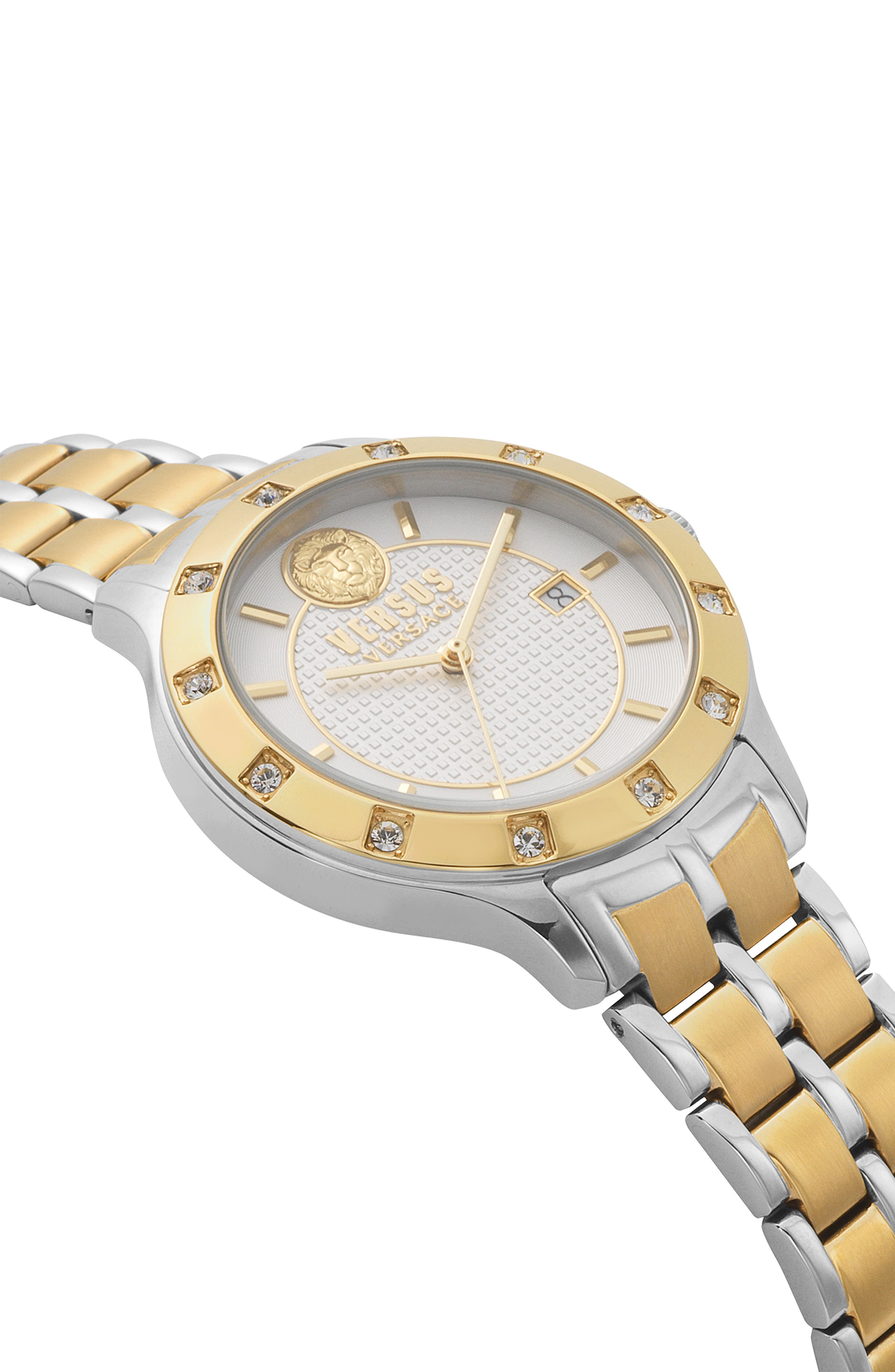 VERSUS VERSACE, Brackenfell Swarovski Bracelet Watch, 38mm, Alternate thumbnail 3, color, GOLD/ SILVER