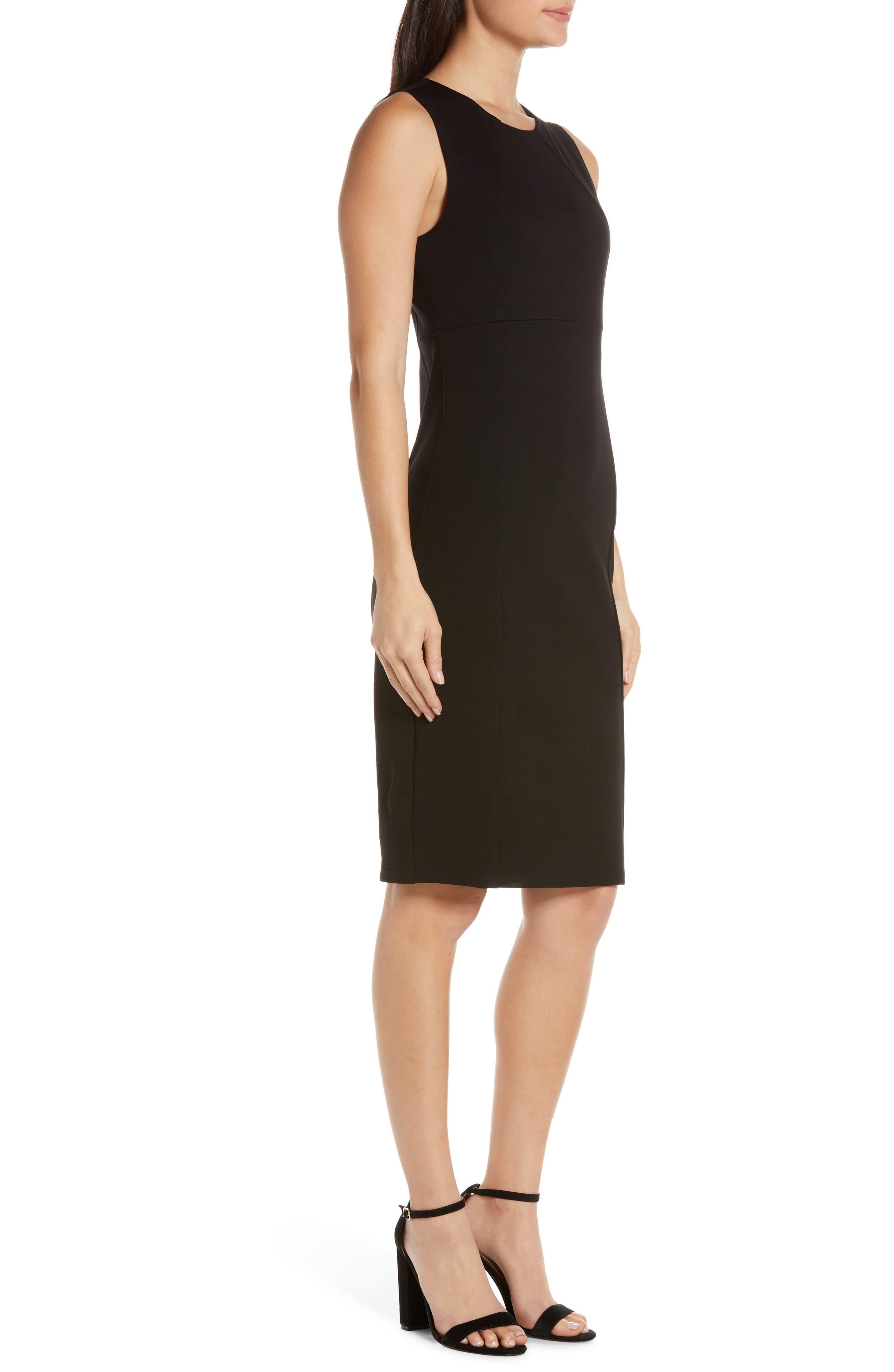 CHARLES HENRY, Sleeveless Sheath Dress, Alternate thumbnail 4, color, BLACK