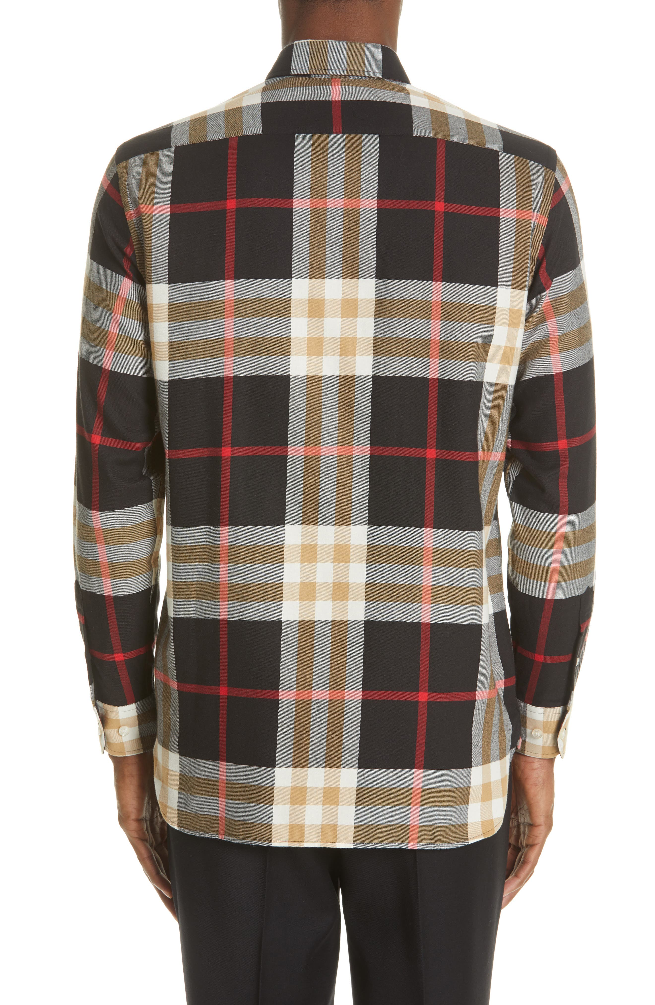 BURBERRY, Richard Slim Fit Plaid Sport Shirt, Alternate thumbnail 3, color, BLACK CHECK