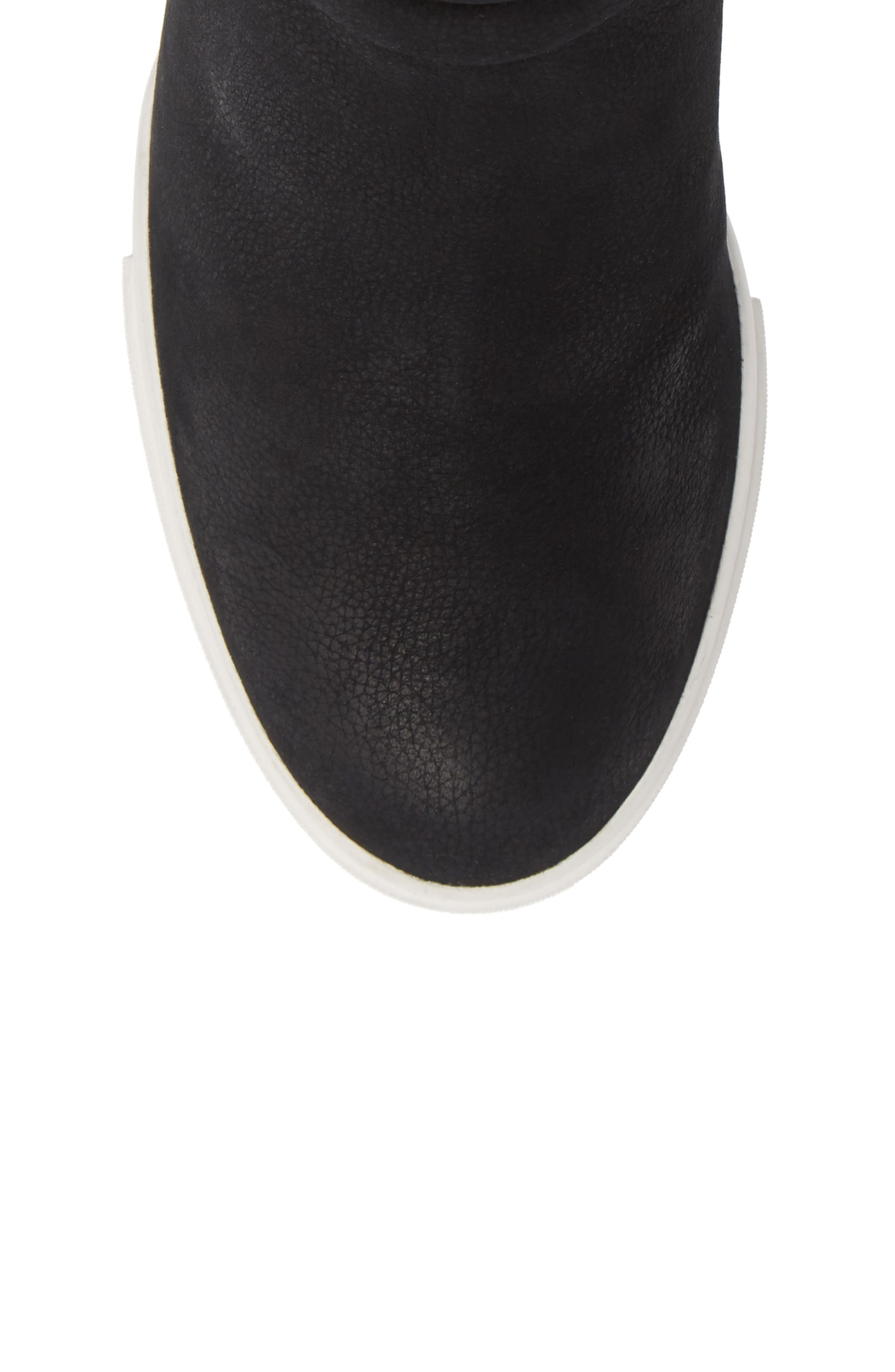 LINEA PAOLO, Flo Waterproof Wedge Bootie, Alternate thumbnail 5, color, BLACK LEATHER
