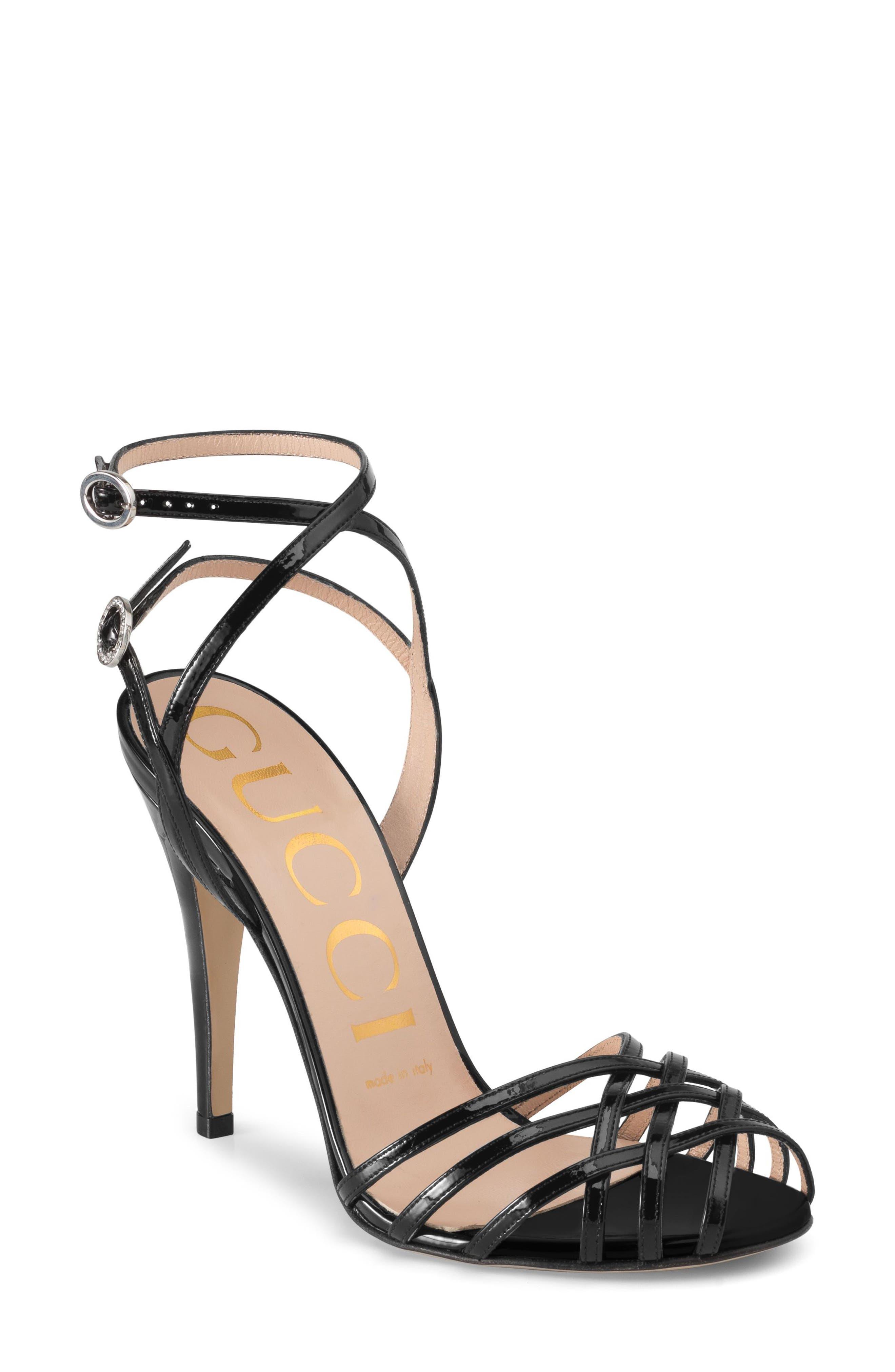 GUCCI, Draconia Ankle Strap Sandal, Main thumbnail 1, color, BLACK