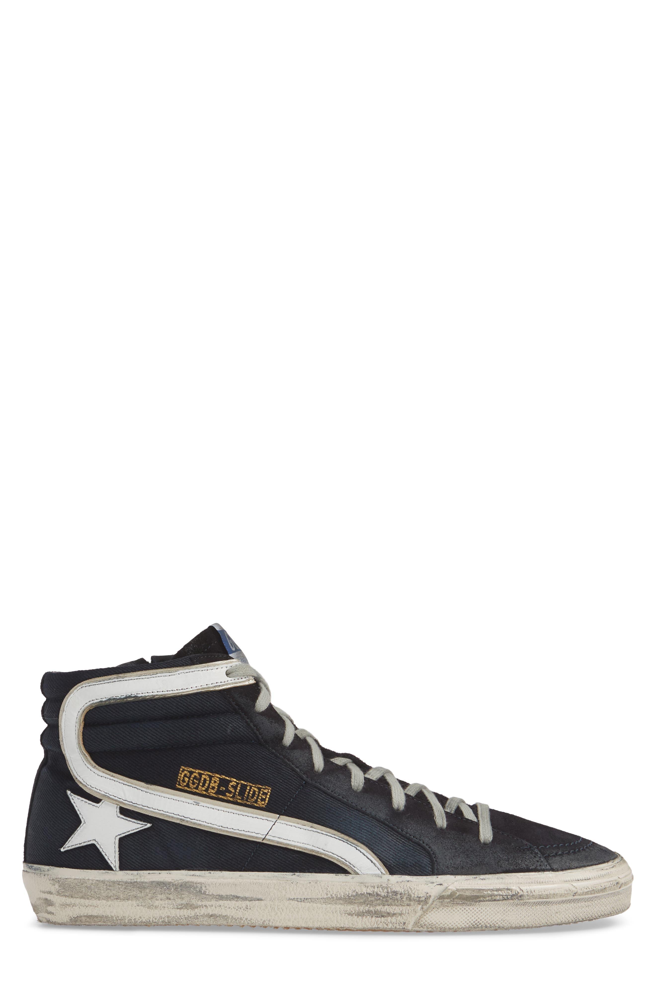 GOLDEN GOOSE, 'Slide' Sneaker, Alternate thumbnail 3, color, NAVY DENIM
