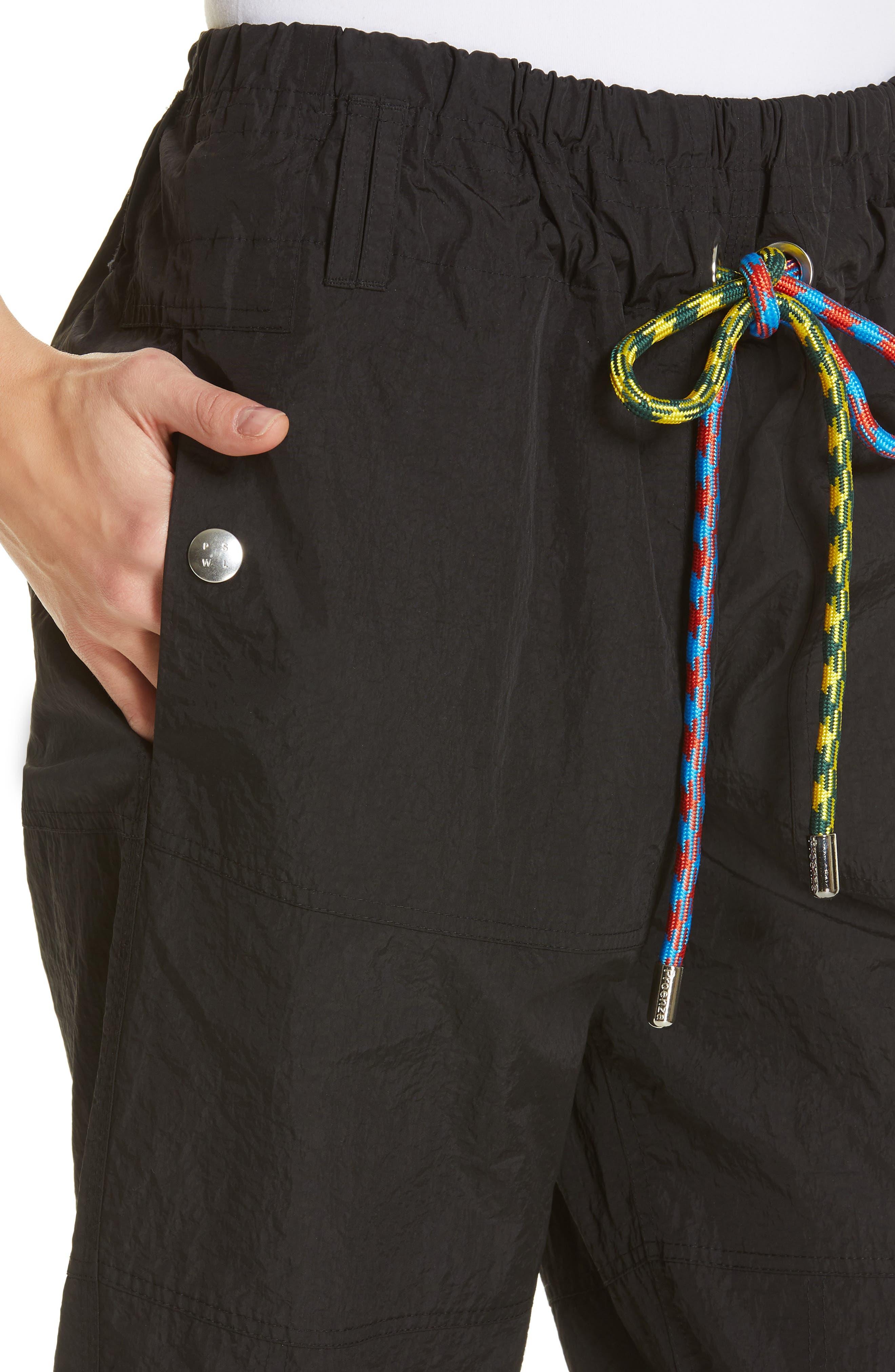PROENZA SCHOULER, PSWL Drawstring Waist Parachute Pants, Alternate thumbnail 4, color, BLACK