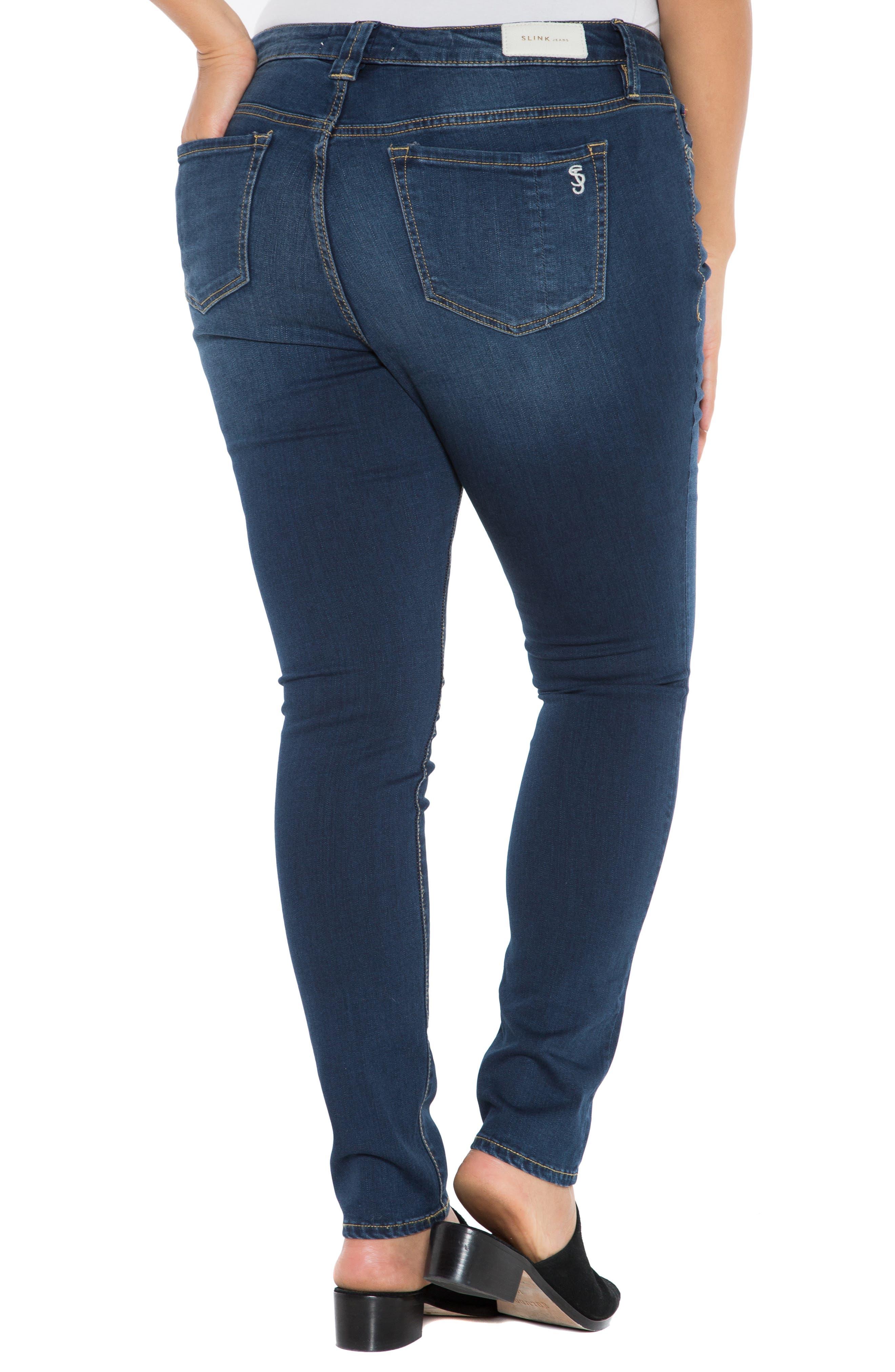 SLINK JEANS, 'The Skinny' Stretch Denim Jeans, Alternate thumbnail 2, color, AMBER