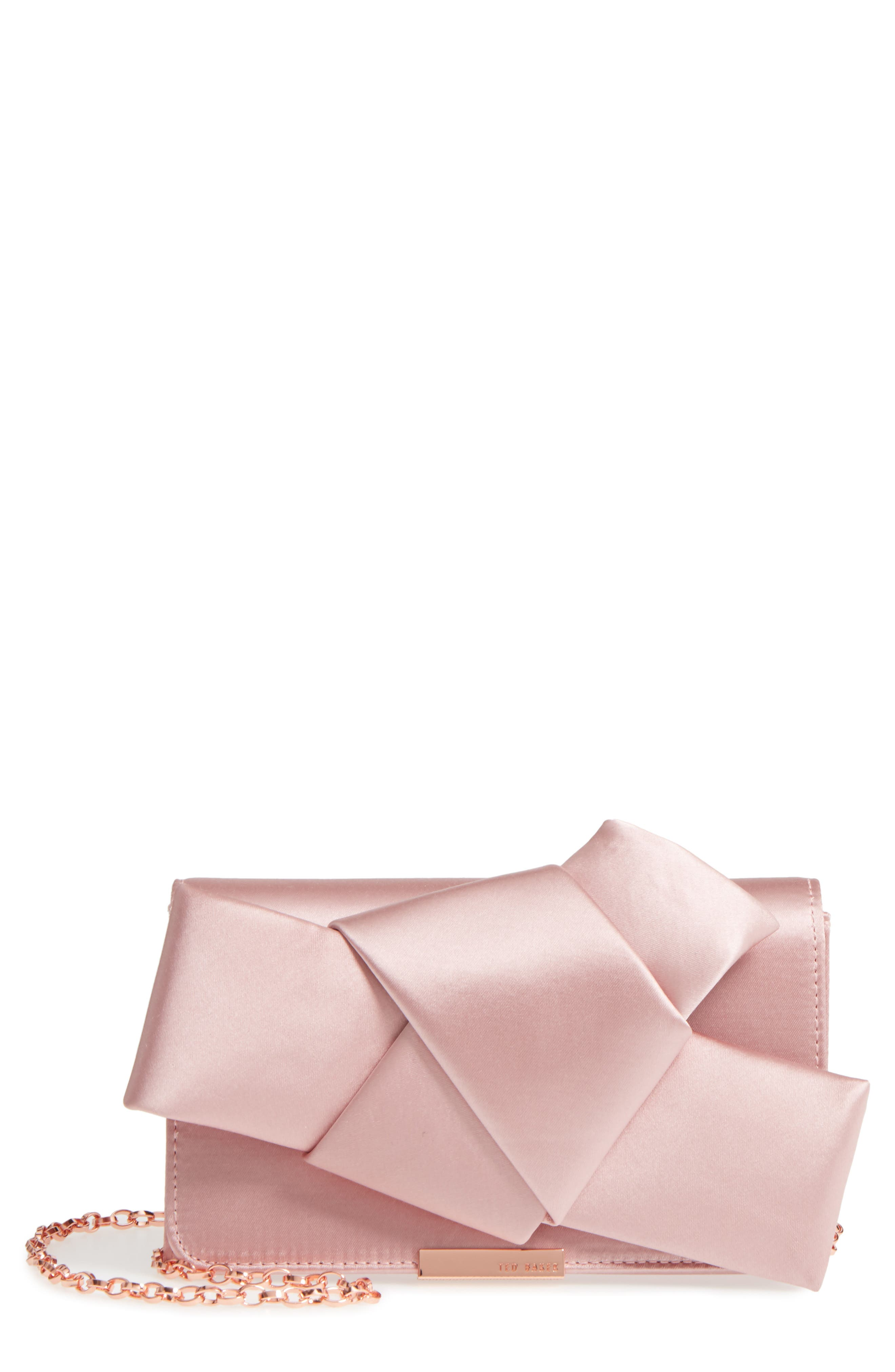 TED BAKER LONDON, Fefee Satin Knotted Bow Clutch, Main thumbnail 1, color, LIGHT PINK