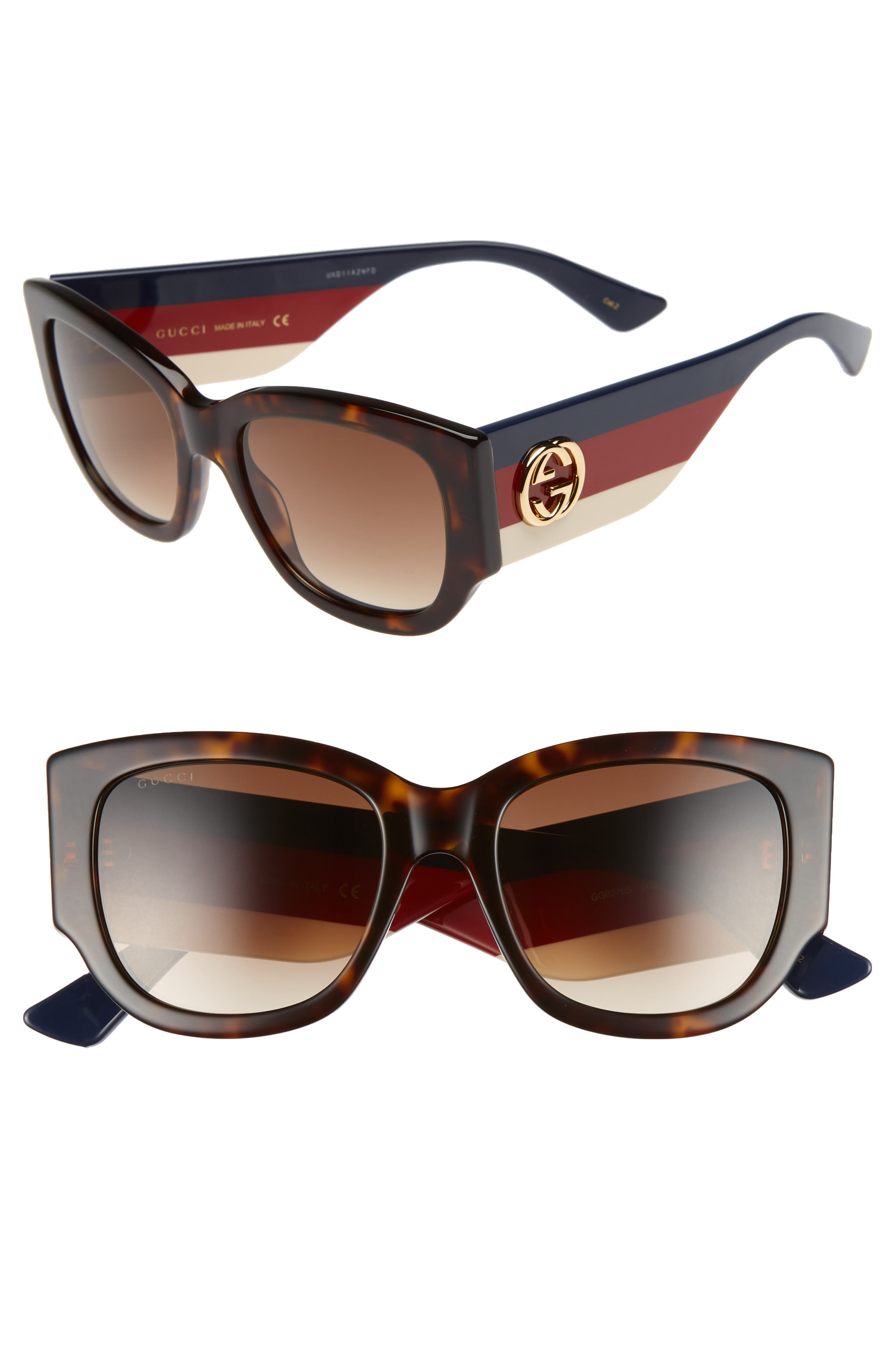 GUCCI, 53mm Cat Eye Sunglasses, Main thumbnail 1, color, HAVANA