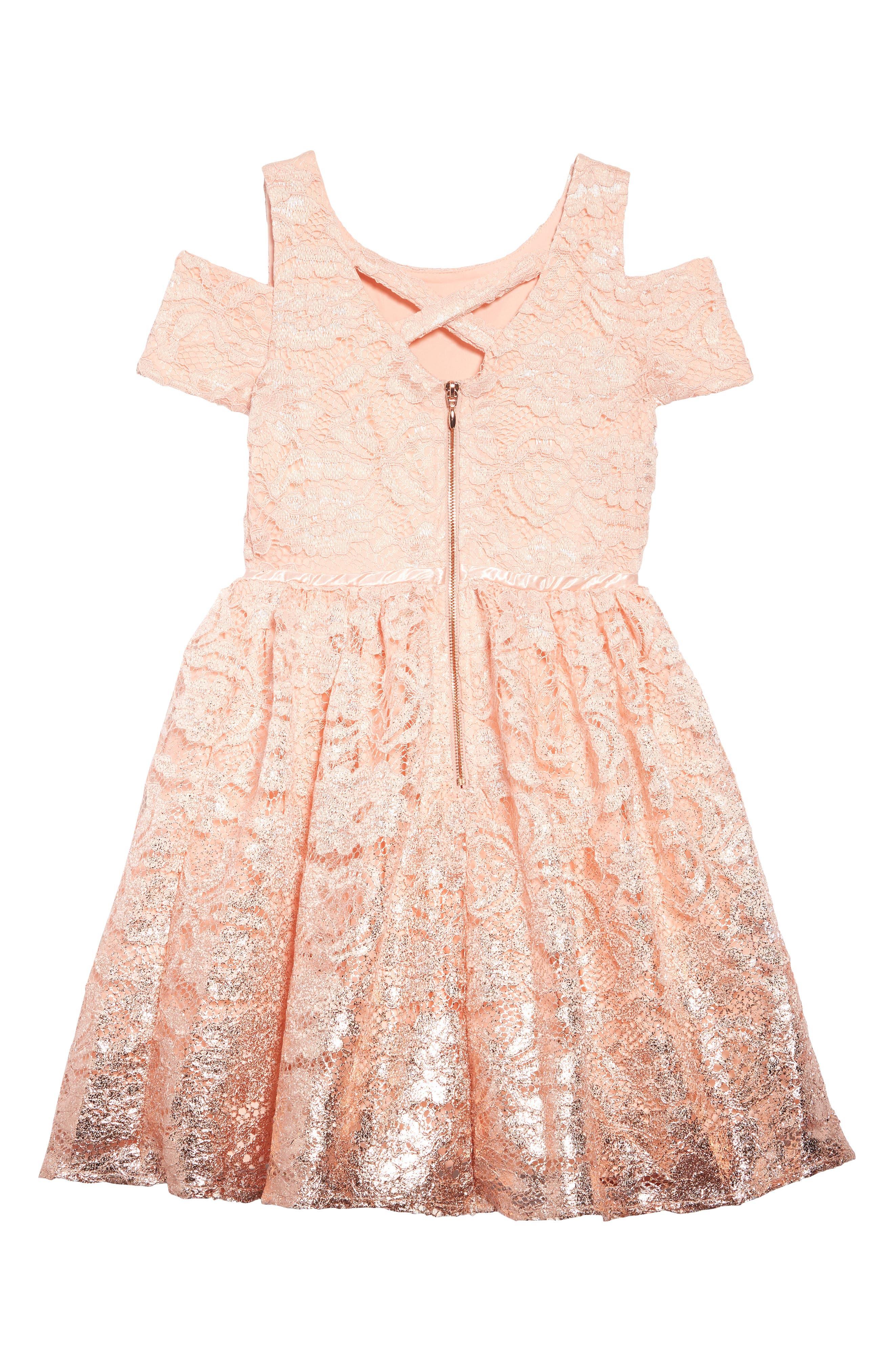 BLUSH BY US ANGELS, Foiled Lace Dress, Alternate thumbnail 2, color, BLUSH