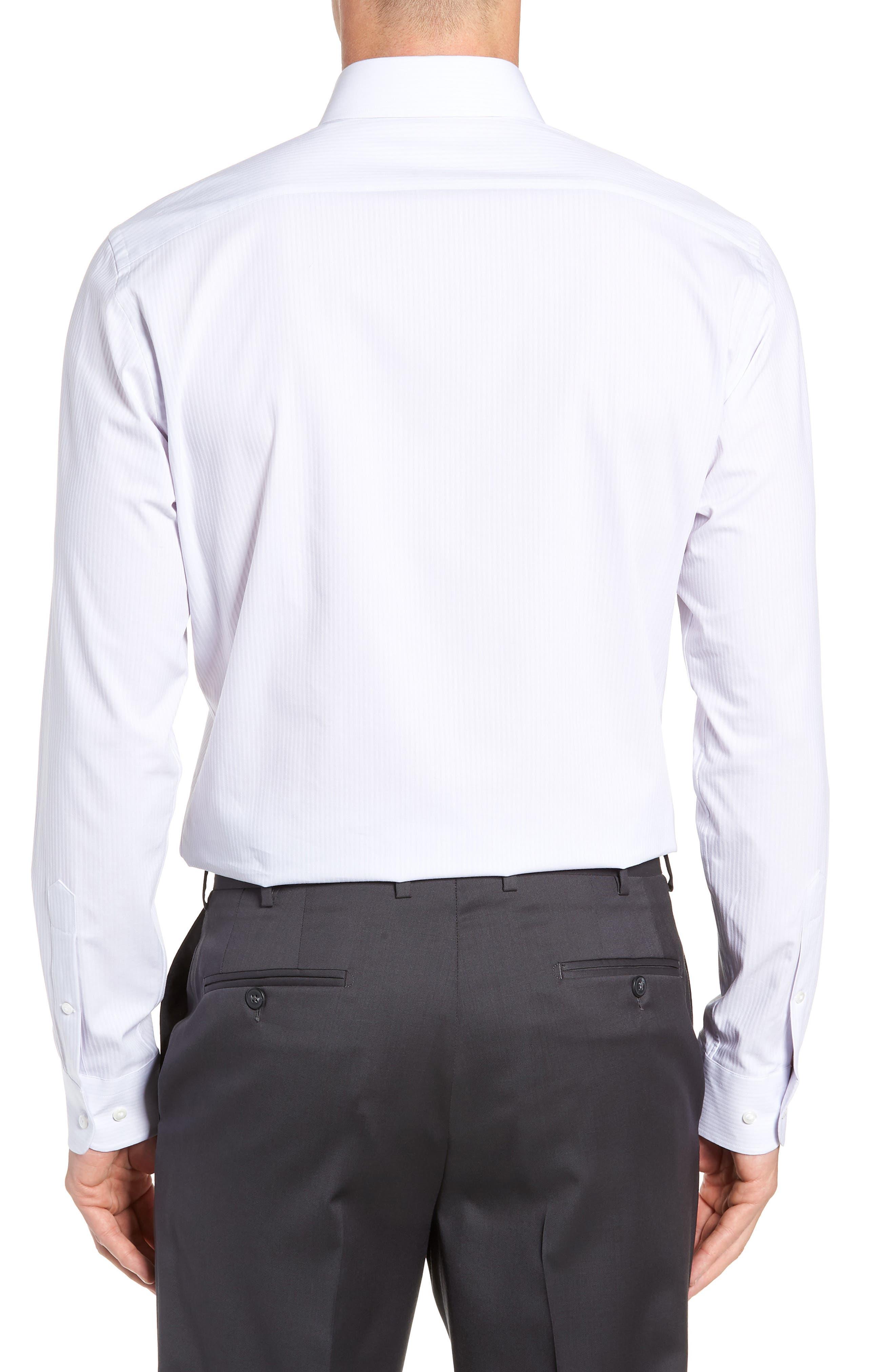 NORDSTROM MEN'S SHOP, Tech-Smart Trim Fit Stretch Stripe Dress Shirt, Alternate thumbnail 3, color, 050