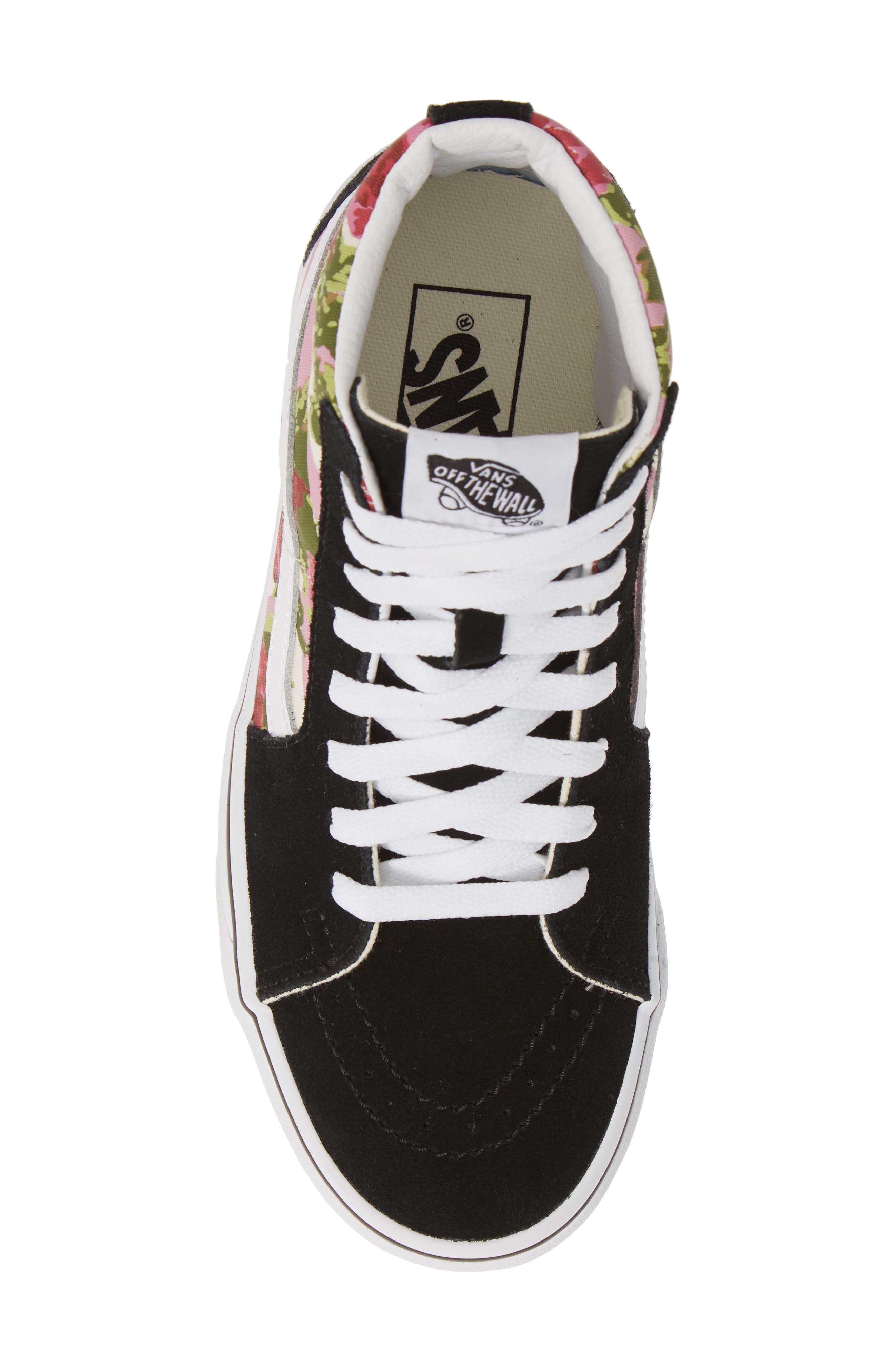 VANS, Sk8-Hi Floral Sneaker, Alternate thumbnail 5, color, FLORAL MULTI/ TRUE WHITE
