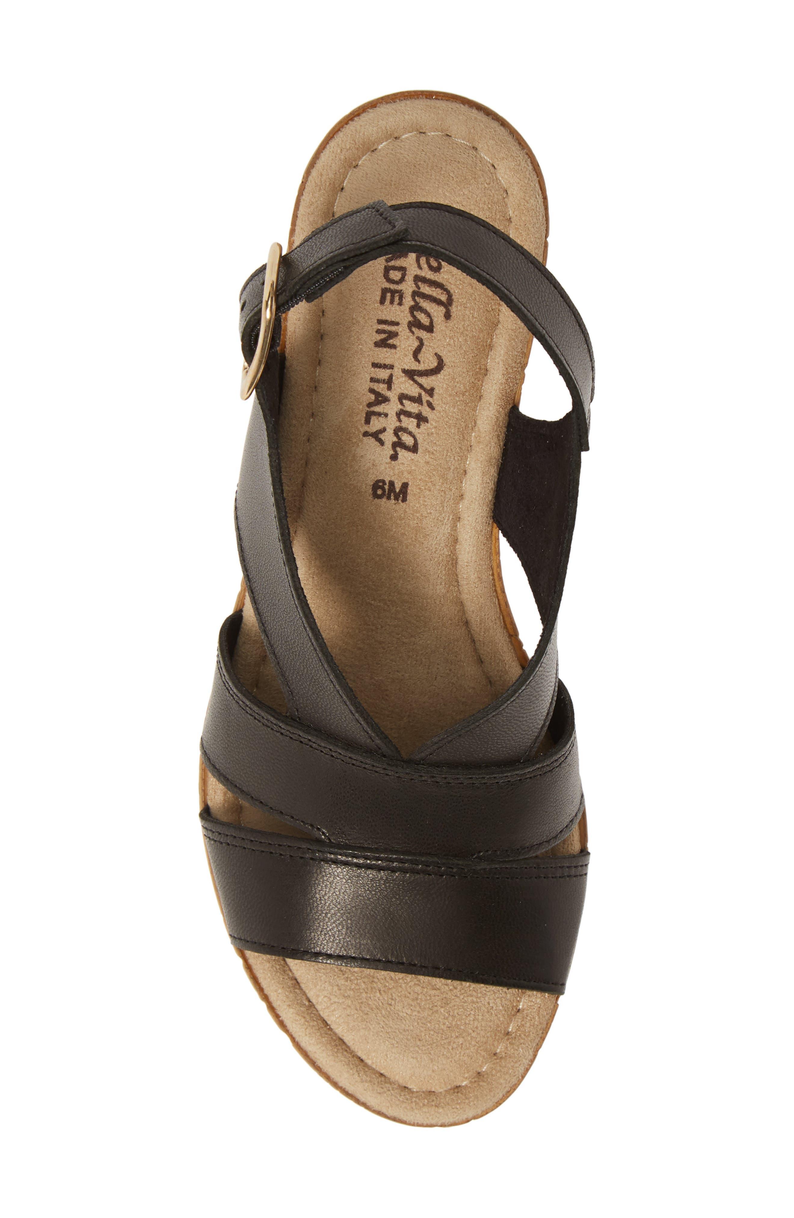 BELLA VITA, Jaz Platform Sandal, Alternate thumbnail 5, color, BLACK ITALIAN LEATHER