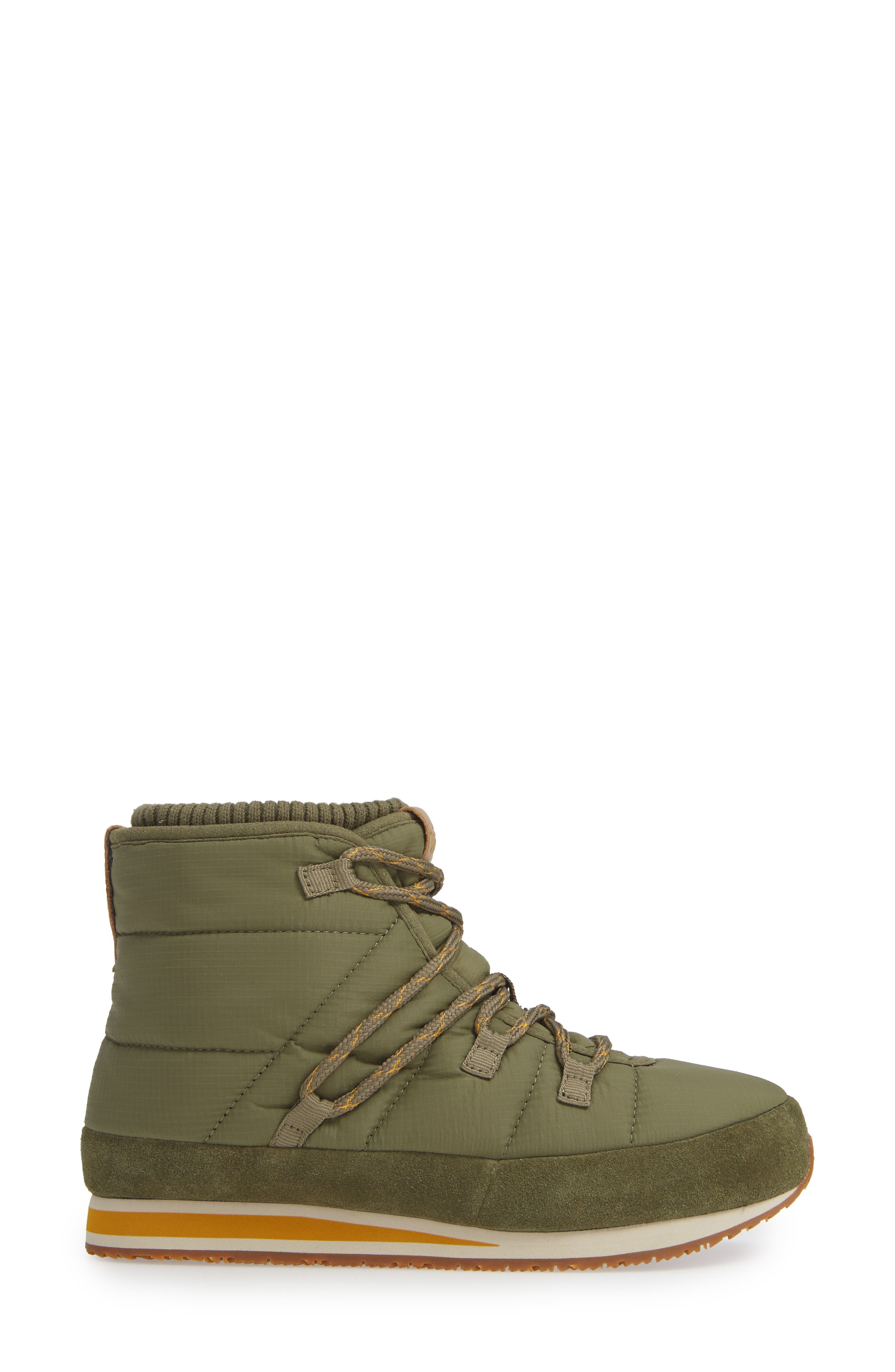 TEVA, Ember Lace-Up Winter Bootie, Alternate thumbnail 3, color, BURNT OLIVE FABRIC