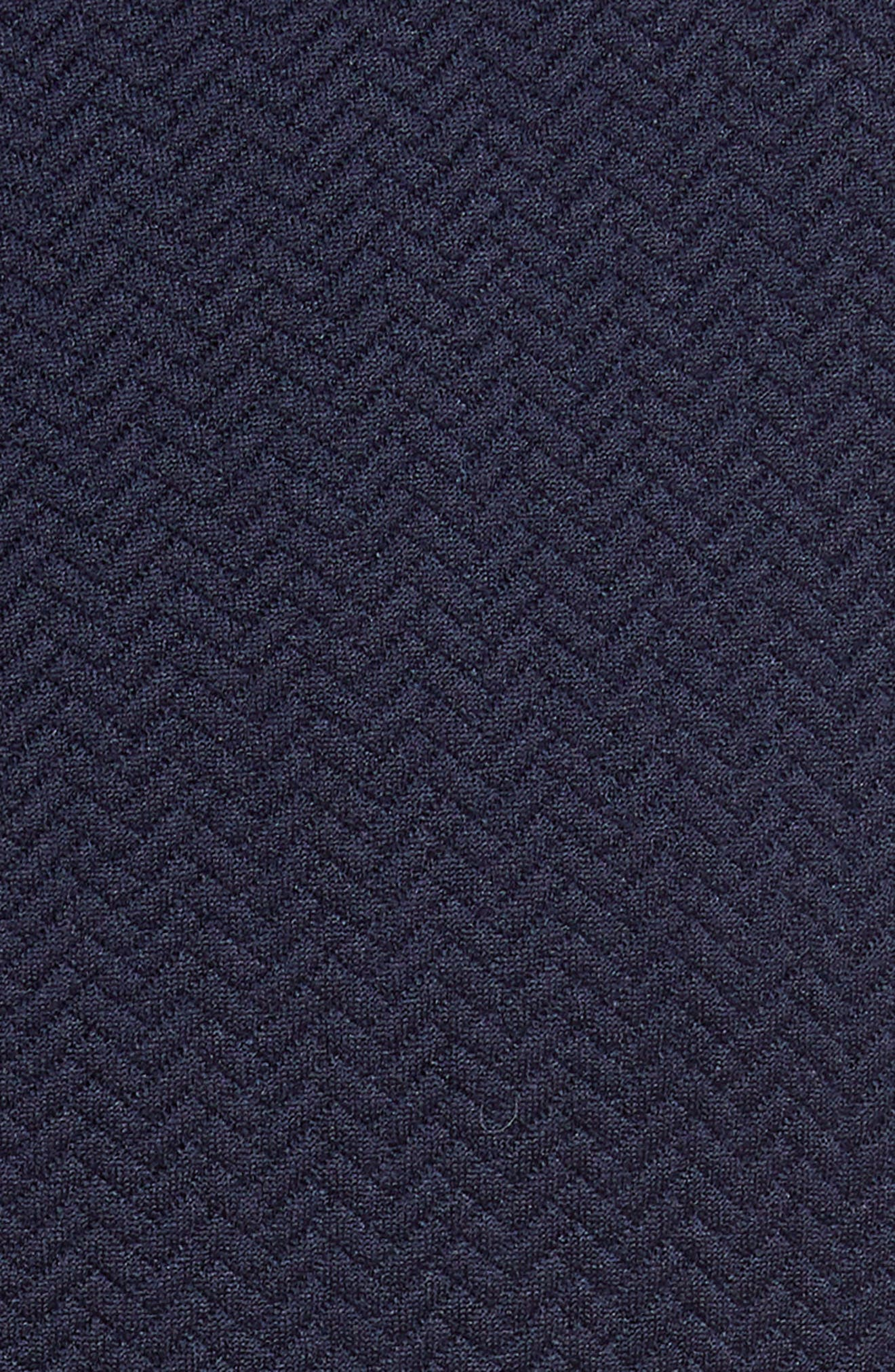 REBECCA TAYLOR, Textured Scallop Detail Fit & Flare Dress, Alternate thumbnail 6, color, NAVY
