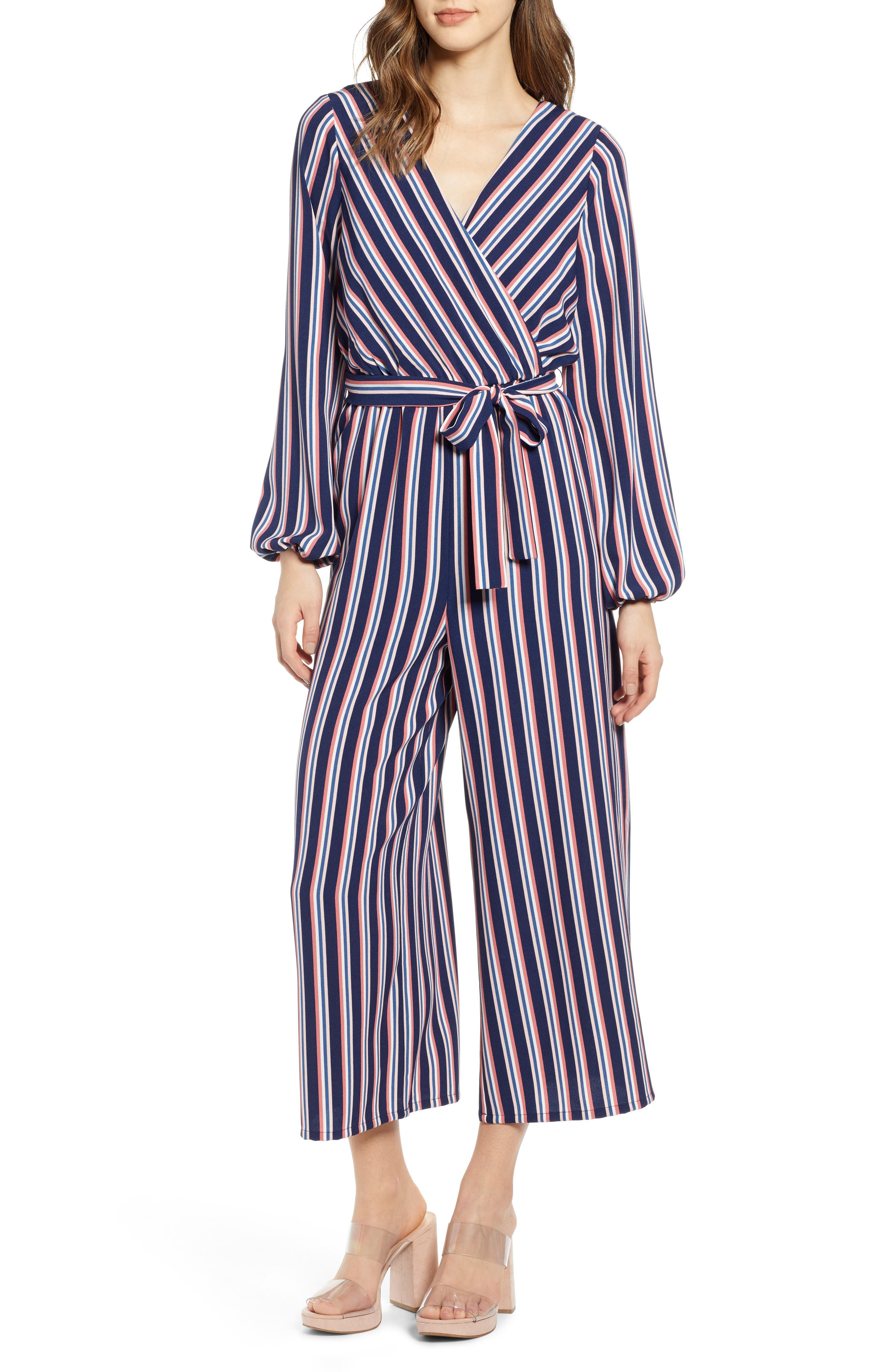LEITH Stripe Surplice Jumpsuit, Main, color, NAVY PEACOAT FEM STRIPE