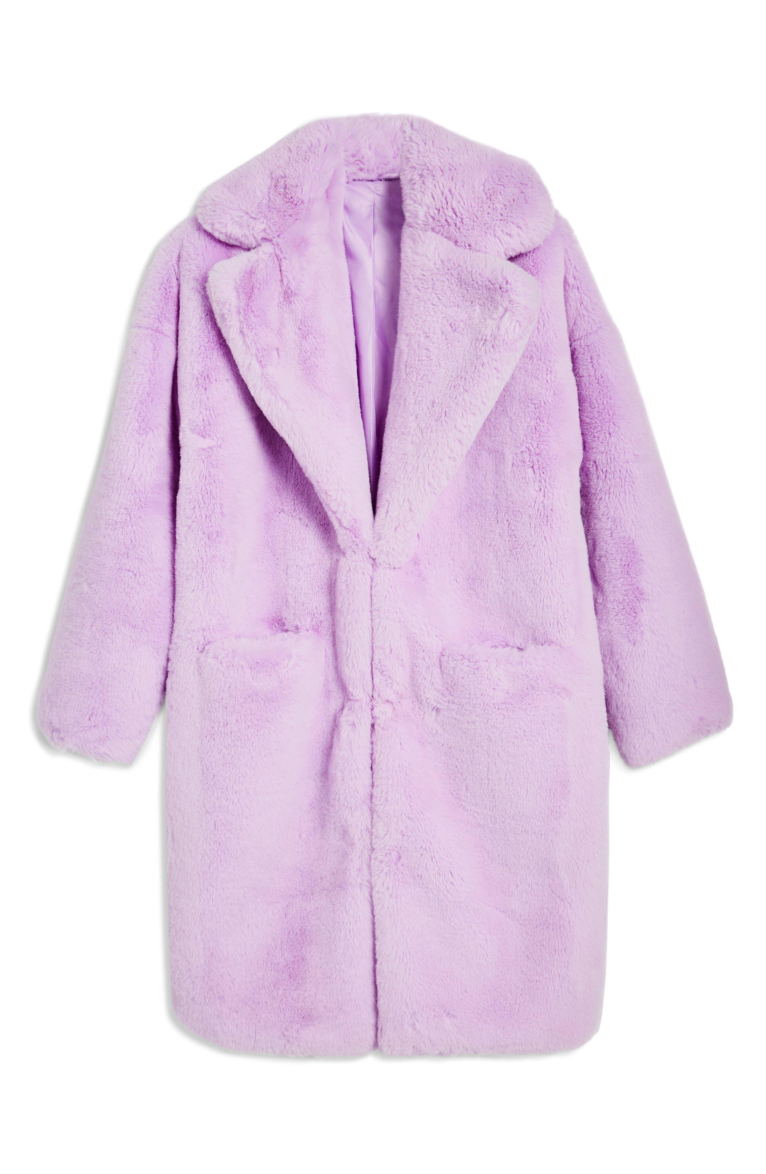 TOPSHOP, Anoushka Faux Fur Coat, Alternate thumbnail 5, color, 530