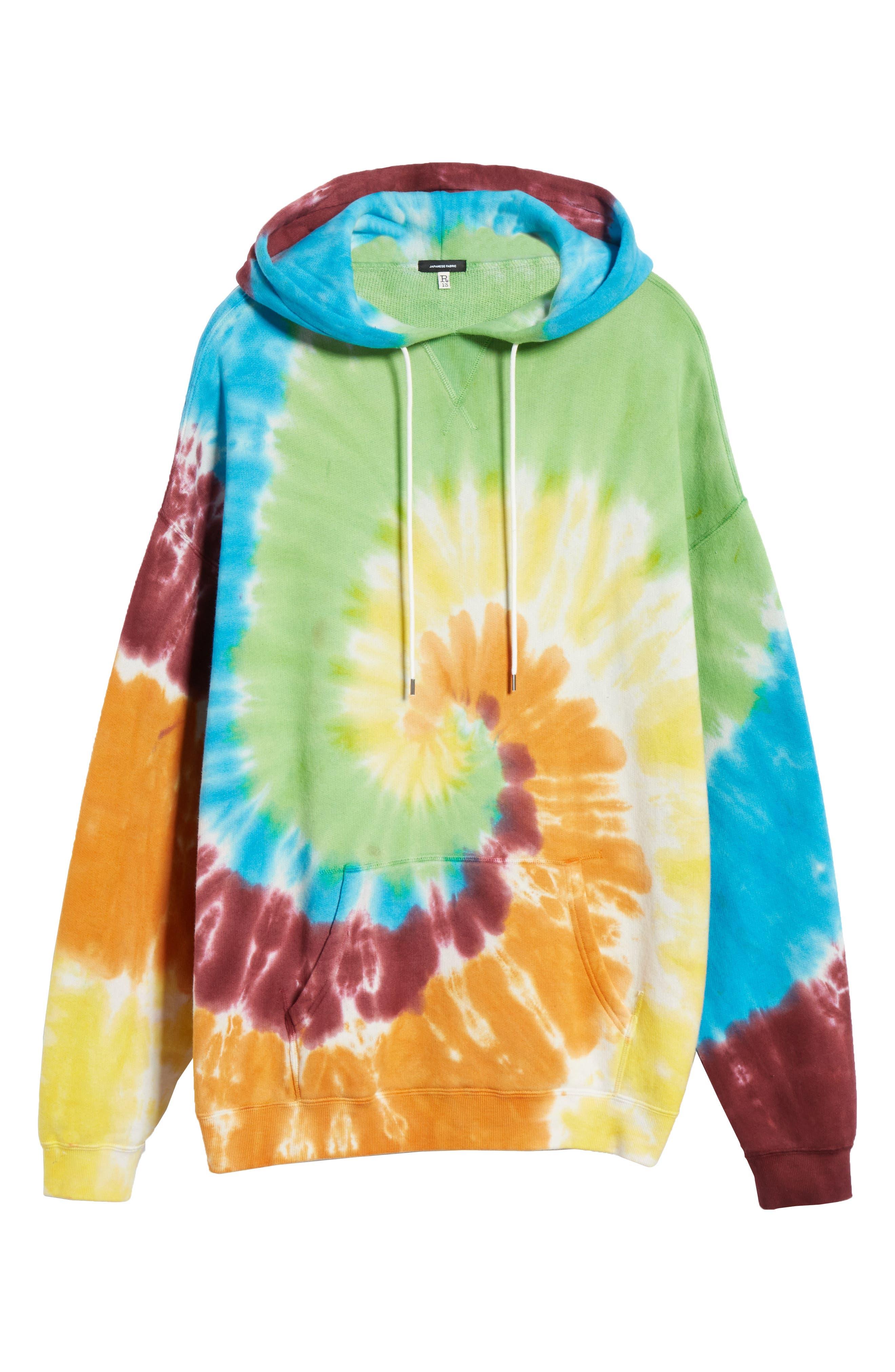 R13, Tie Dye Rainbow Hoodie, Alternate thumbnail 7, color, TIE DYE