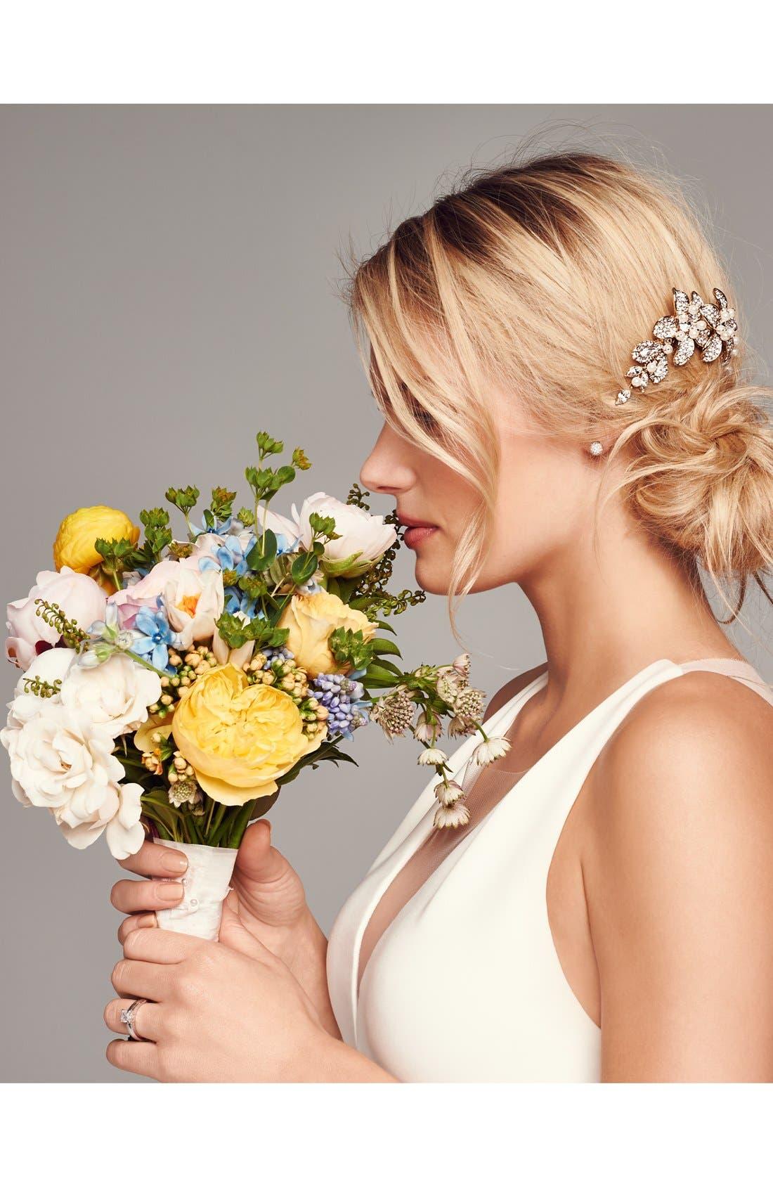 WEDDING BELLES NEW YORK, Bead & Crystal Head Comb, Alternate thumbnail 2, color, SILVER