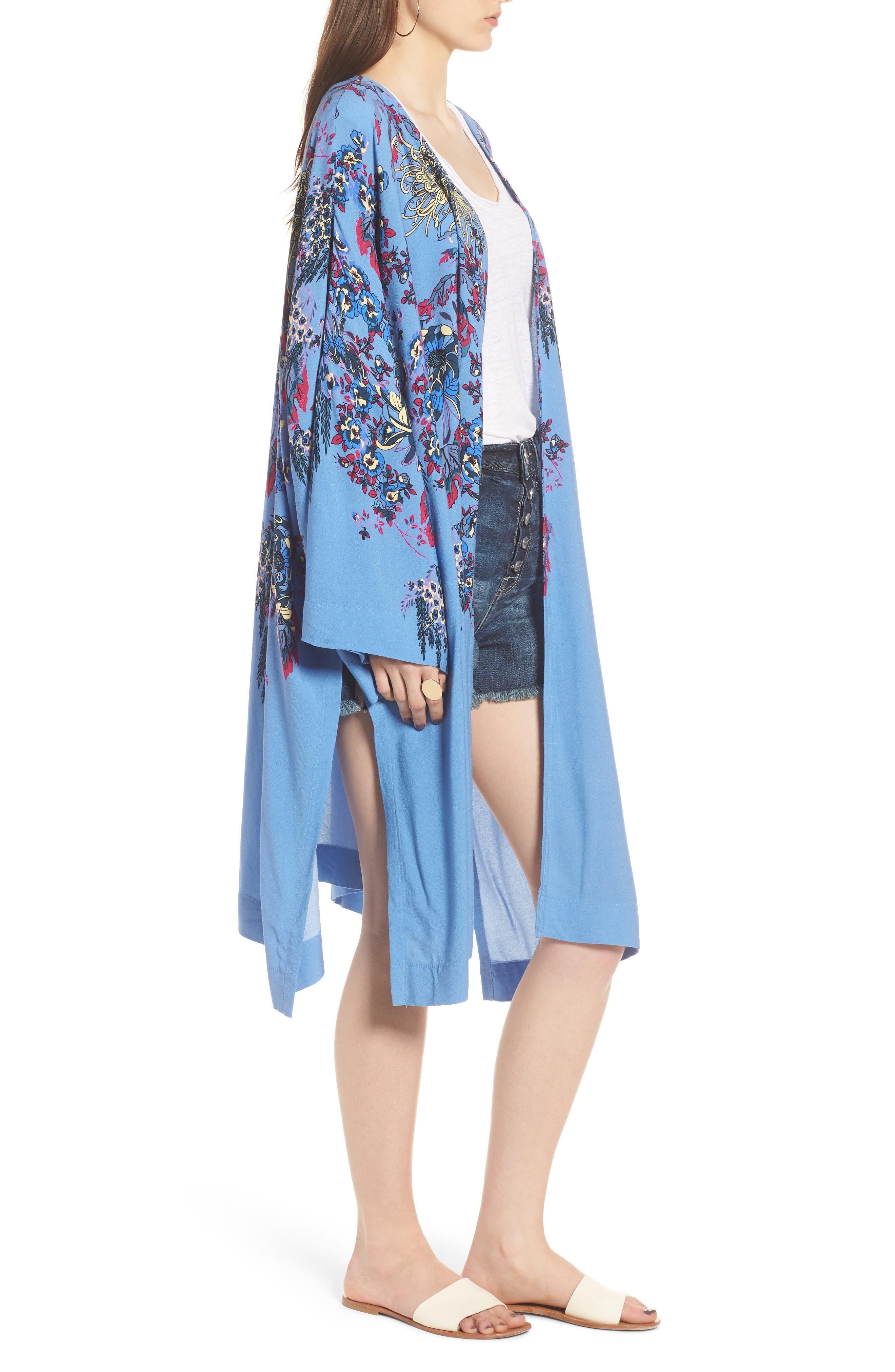 FREE PEOPLE, Dont Know Kimono, Alternate thumbnail 3, color, BLUE COMBO