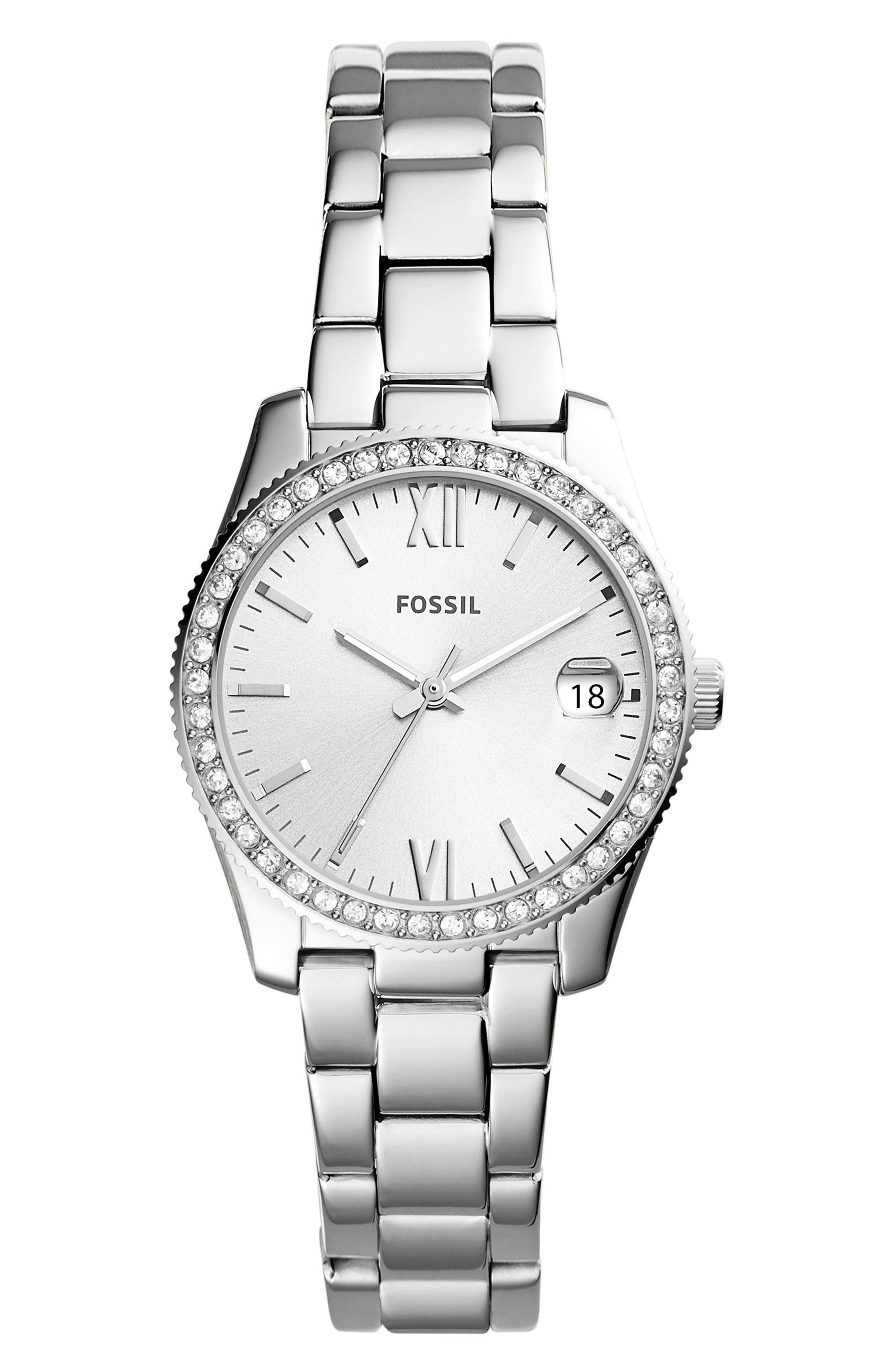 FOSSIL, Scarlette Crystal Bracelet Watch, 32mm, Main thumbnail 1, color, SILVER