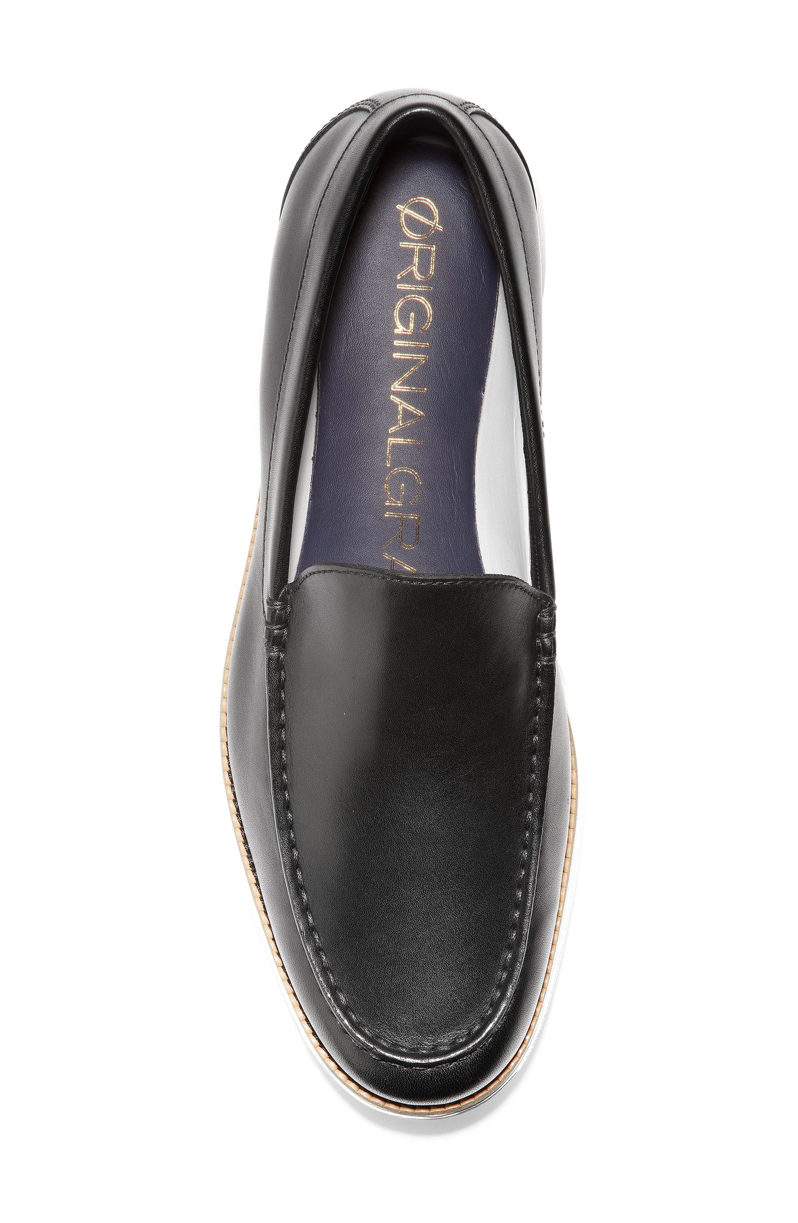 COLE HAAN, Original Grand Loafer, Alternate thumbnail 5, color, BLACK/ OPTIC WHITE LEATHER