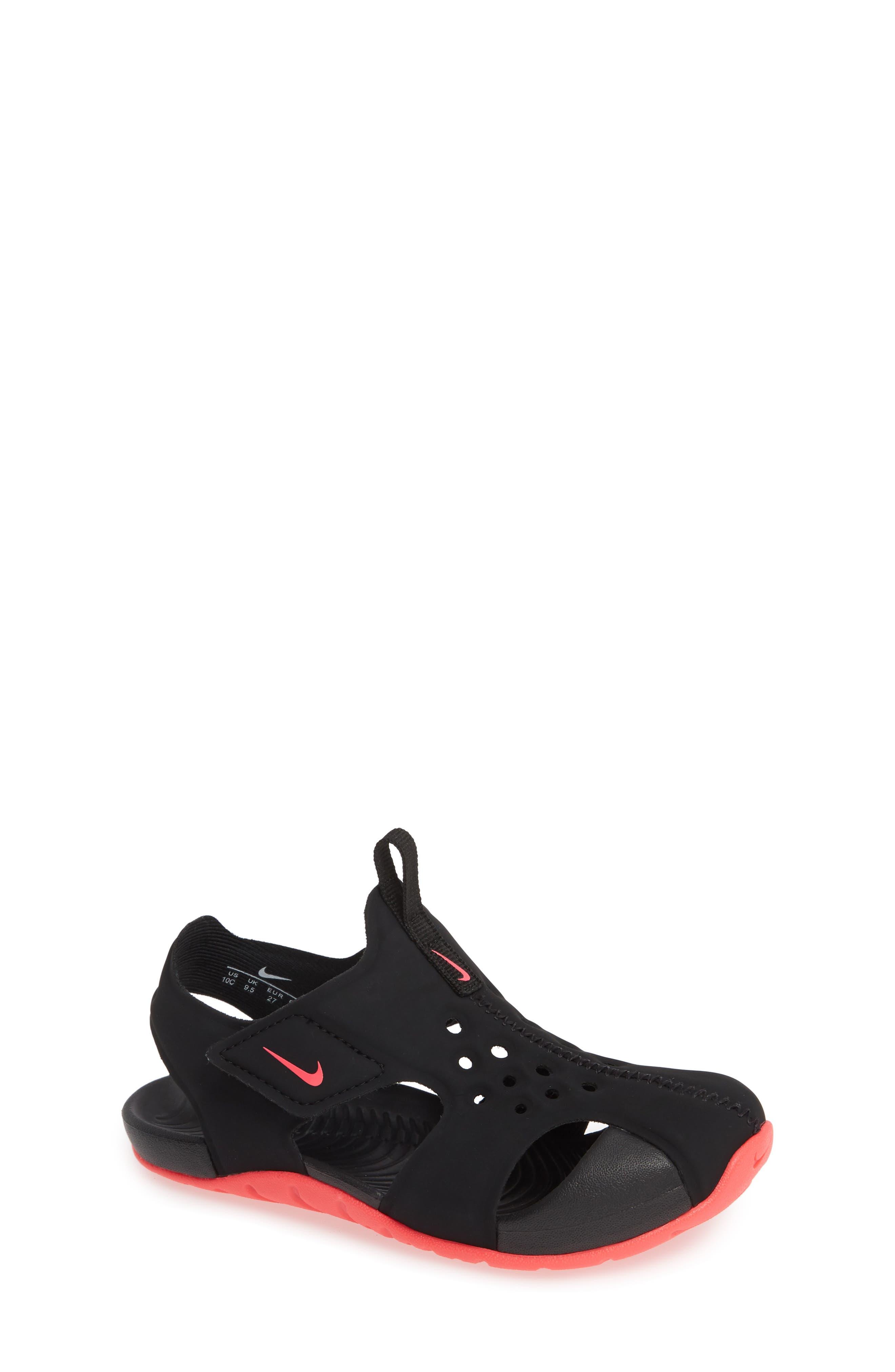 NIKE, Sunray Protect 2 Sandal, Main thumbnail 1, color, BLACK/ RACER PINK